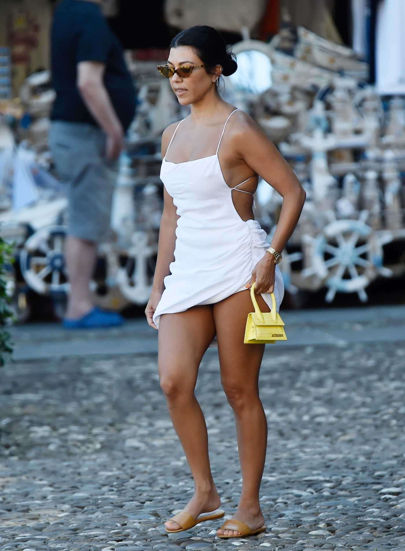 Kourtney Kardashian in a White Dress Was Seen Out in Portofino 08/03/2019