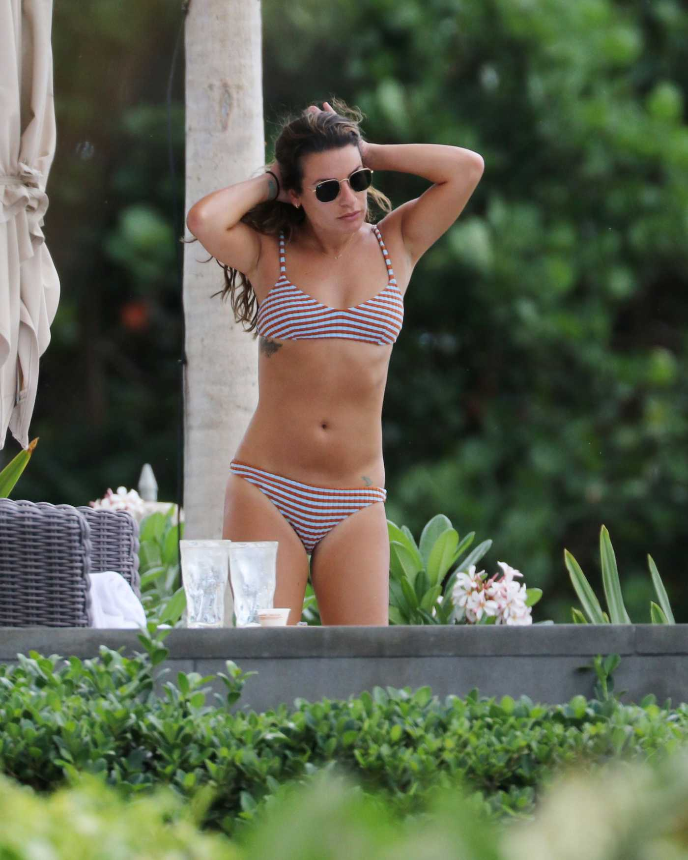 Lea Michele in a Striped Bikini in Hawaii 08/14/2019