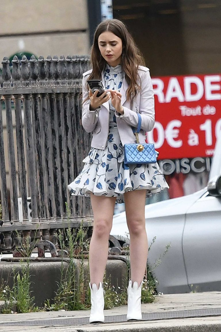 Lily Collins in a White Floral Dress