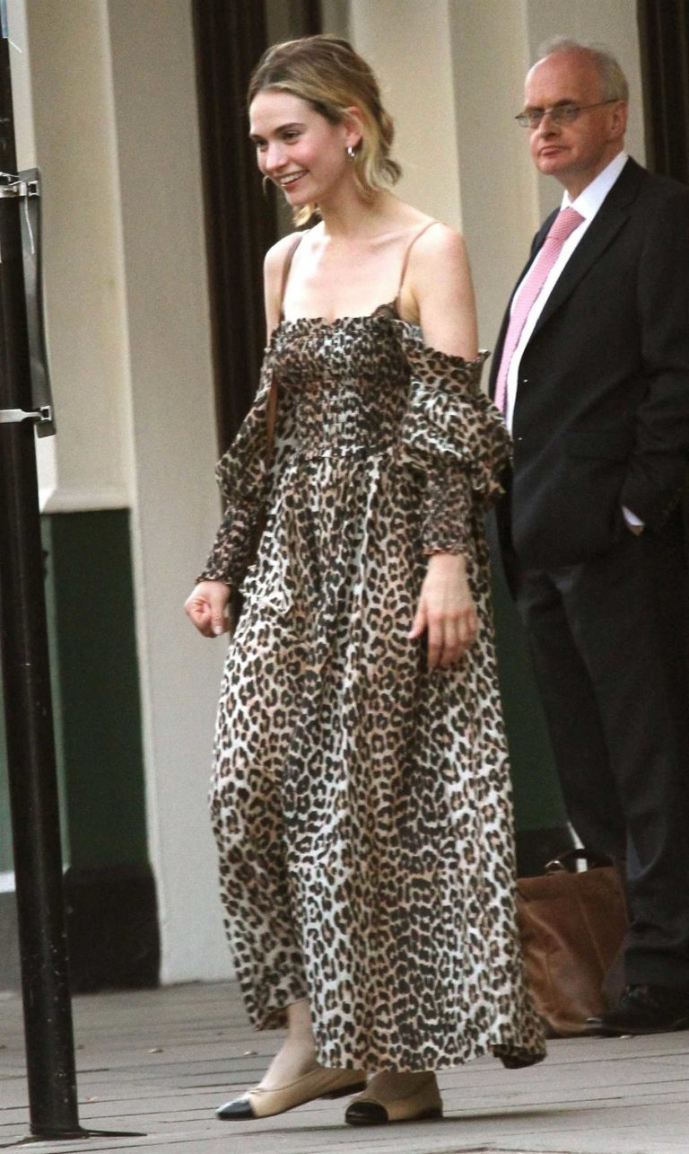 Lily James in a Leopard Print Dress