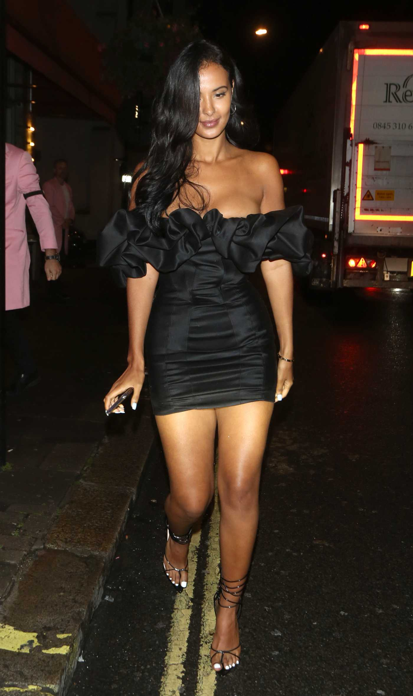 Maya Jama in a Black Dress Leaves Sexy Fish Restaurant in London 08/14/2019
