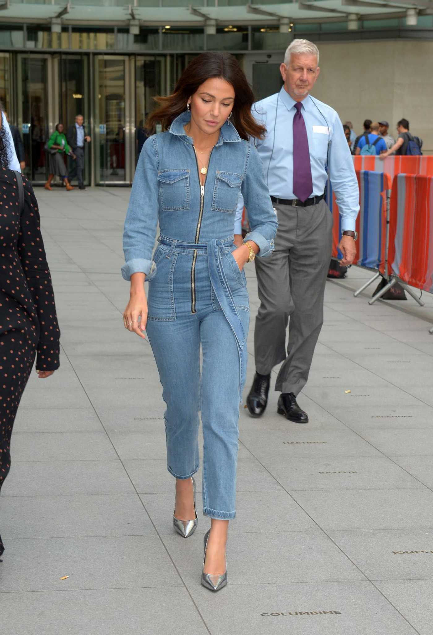 Michelle Keegan in a Blue Dnim Jumpsuit Leaves BBC Studios in London 07/31/2019