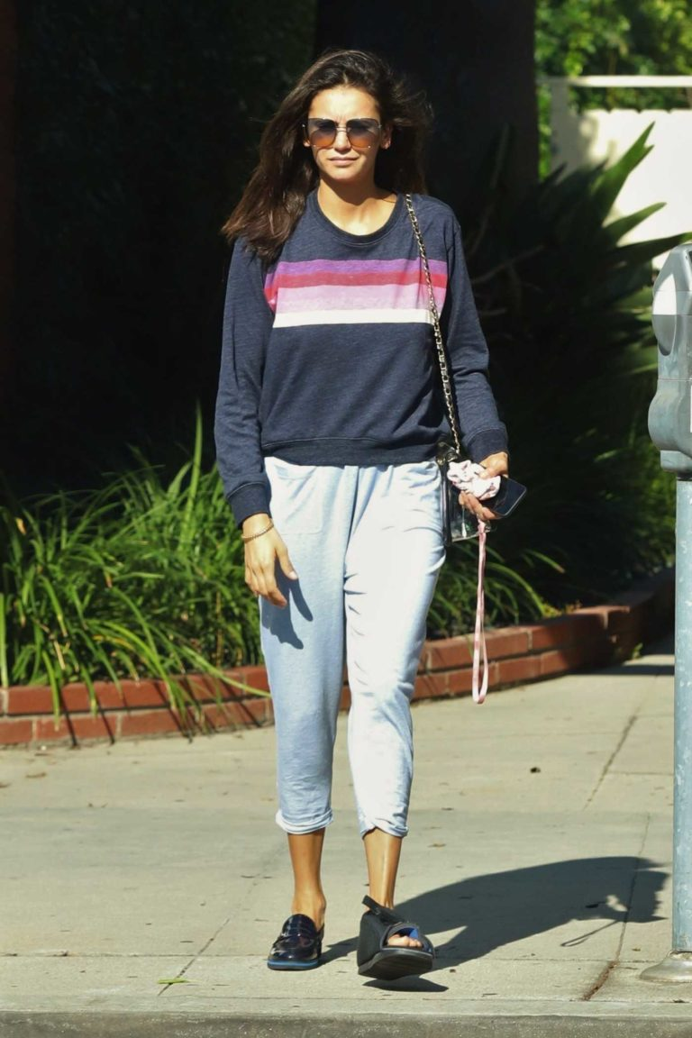 Nina Dobrev in a Gray Sweatshirt