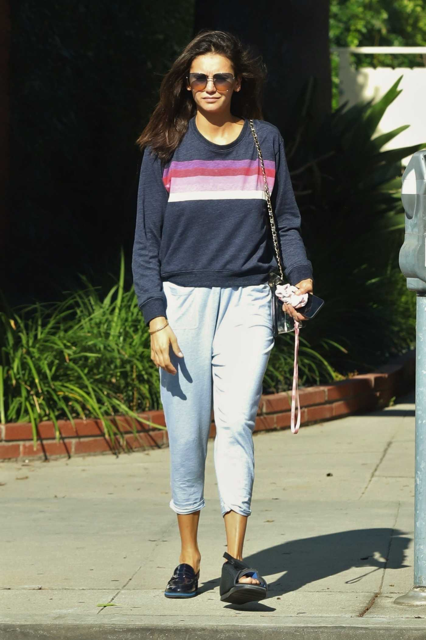 Nina Dobrev in a Gray Sweatshirt Was Seen Out in LA 08/26/2019