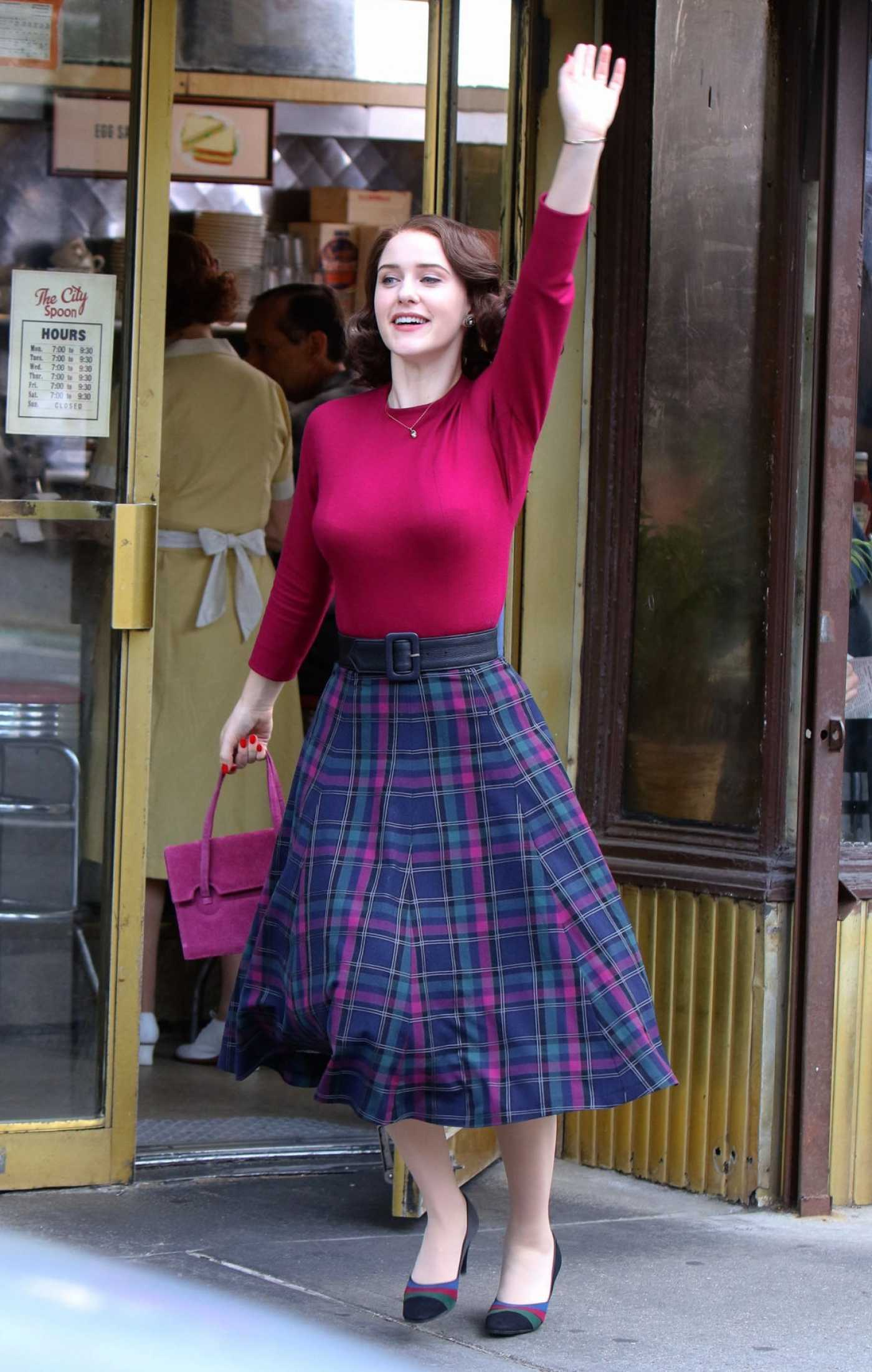 Rachel Brosnahan in a Plaid Skirt on the Set of The Marvelous Mrs. Maisel in New York City 08/27/2019