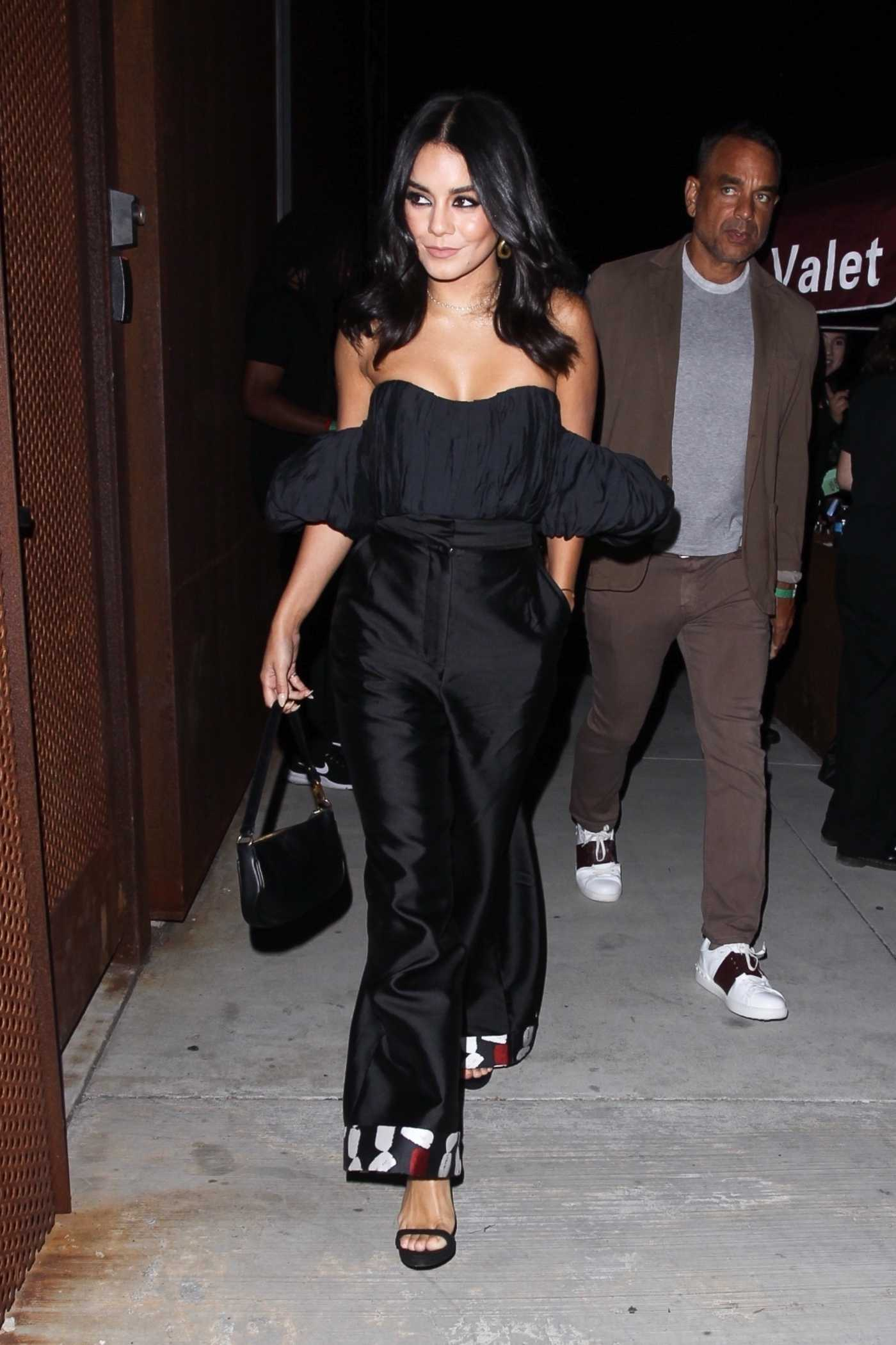 Vanessa Hudgens in a Black Blouse Stops by the Weedmaps Museum of Weed in Hollywood 08/01/2019