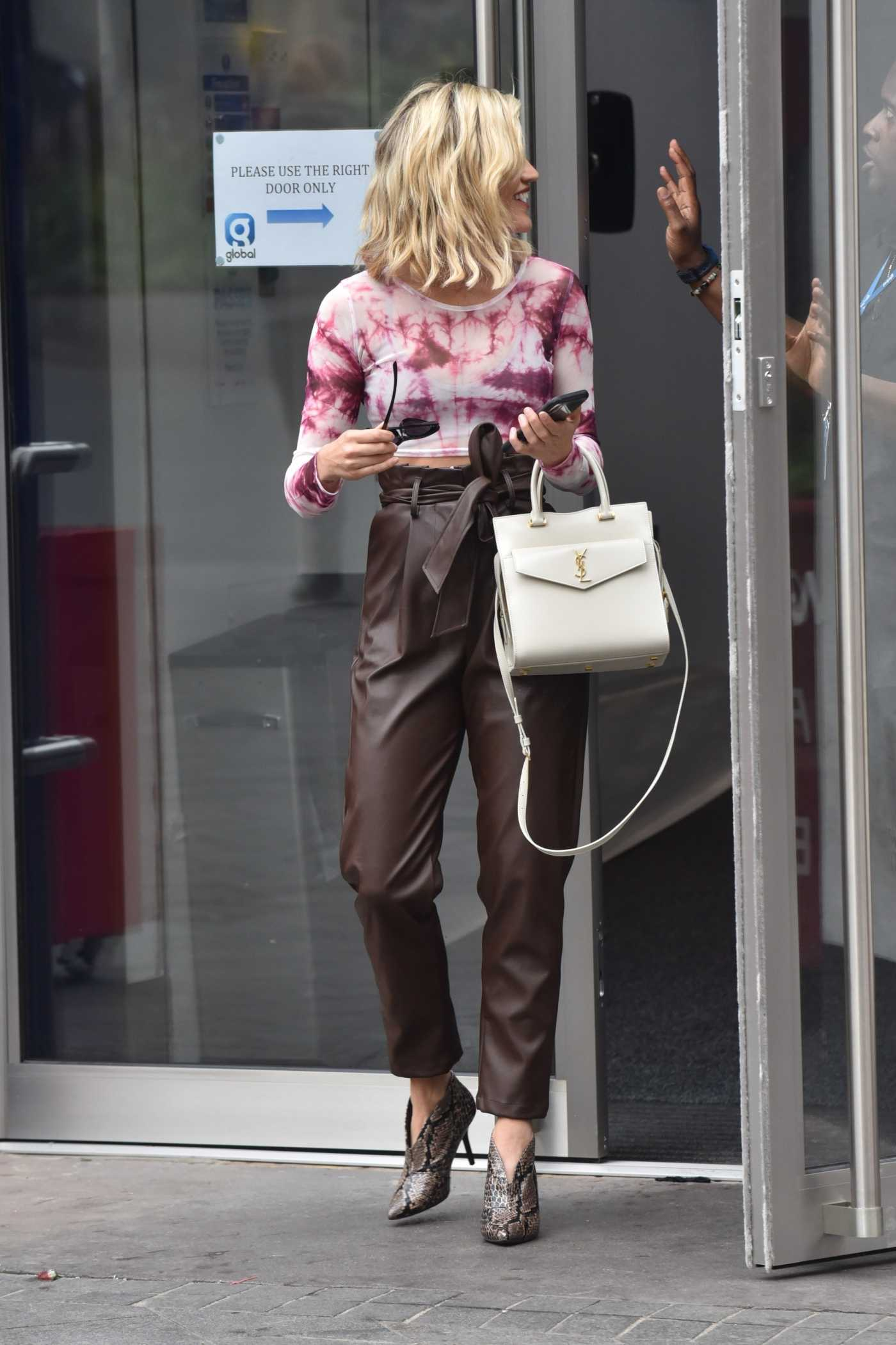 Ashley Roberts in a Brown Pants Arrives at Global Radio in London 09/16/2019