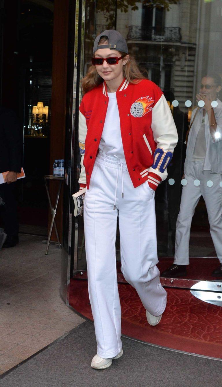 Gigi Hadid in a White Sweatpants