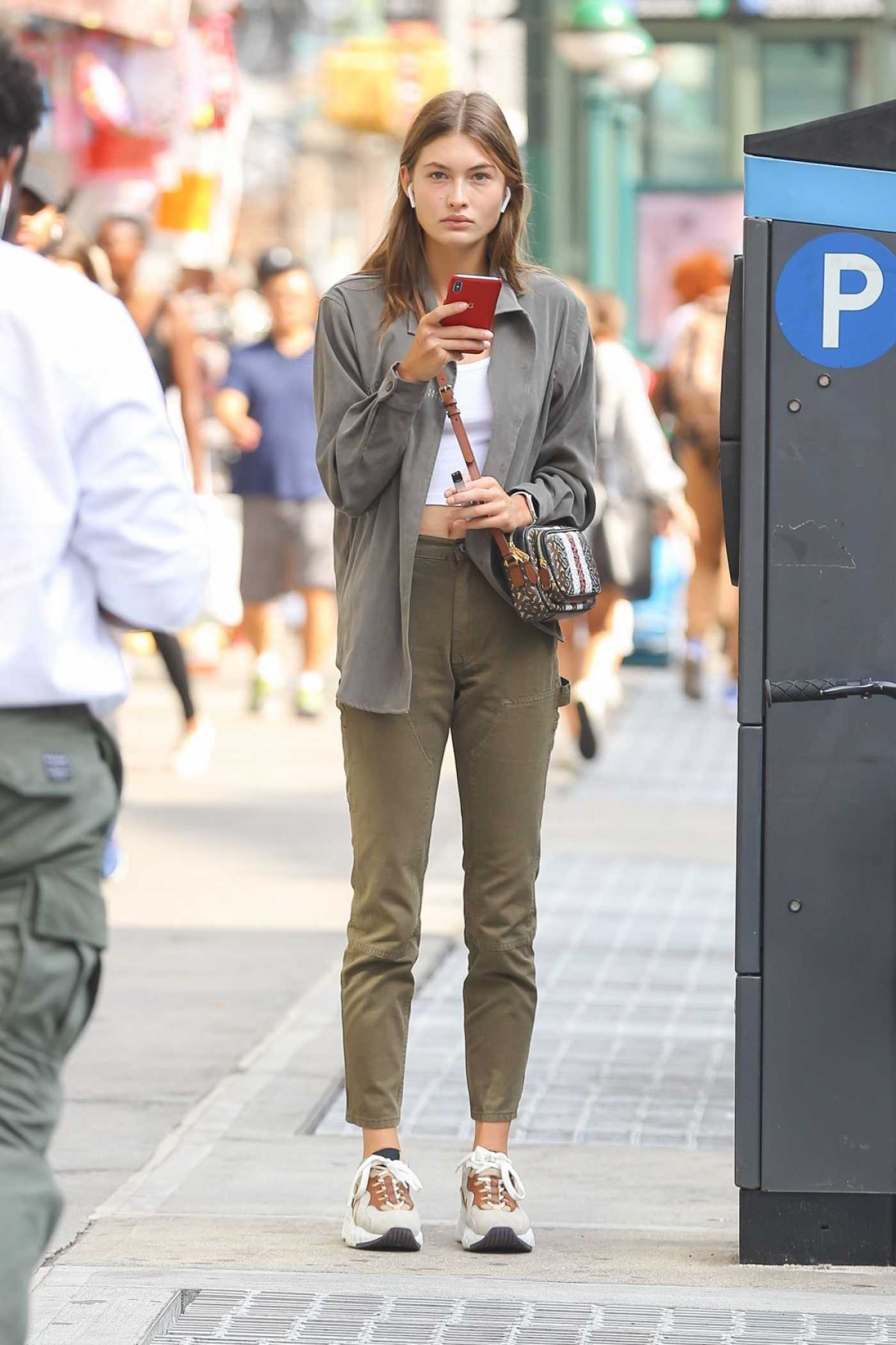 Grace Elizabeth in a Gray Blouse Was Seen Out in New York 09/04/2019