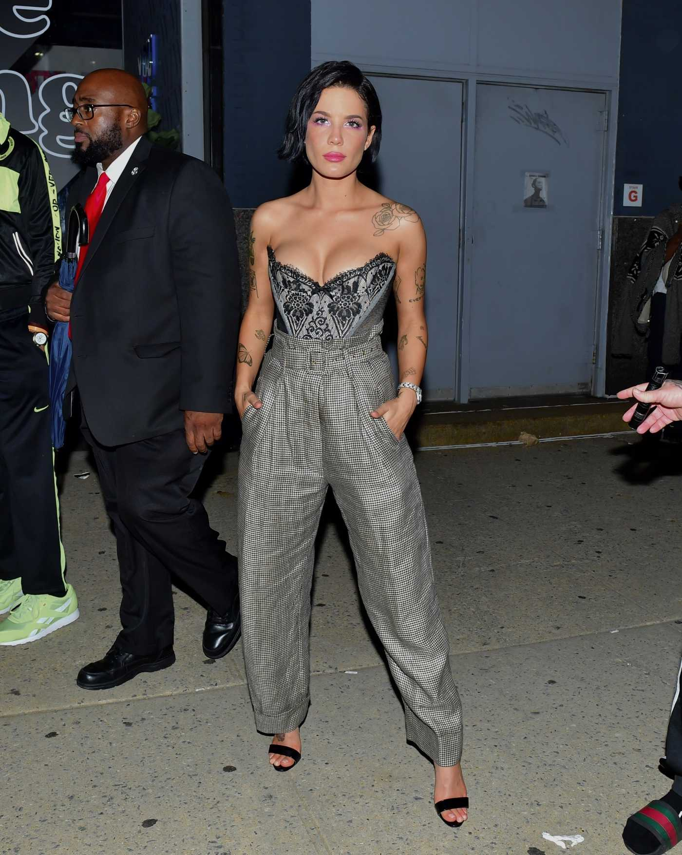 Halsey in a Gray Pants Leaves Rihanna's Fenty After Party in New York 09/10/2019