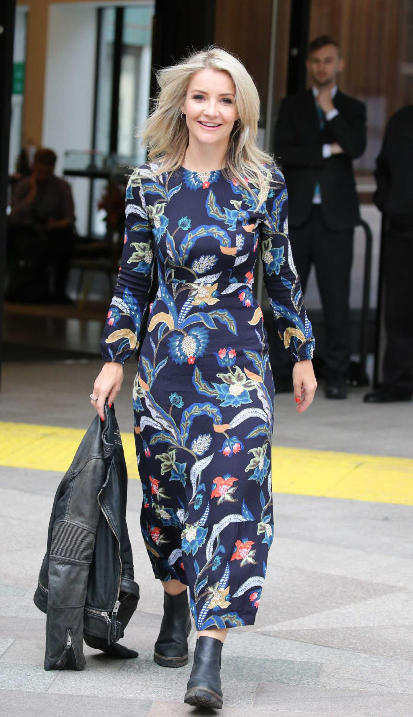 Helen Skelton in a Floral Dress Leaves ITV Studios in London 09/05/2019