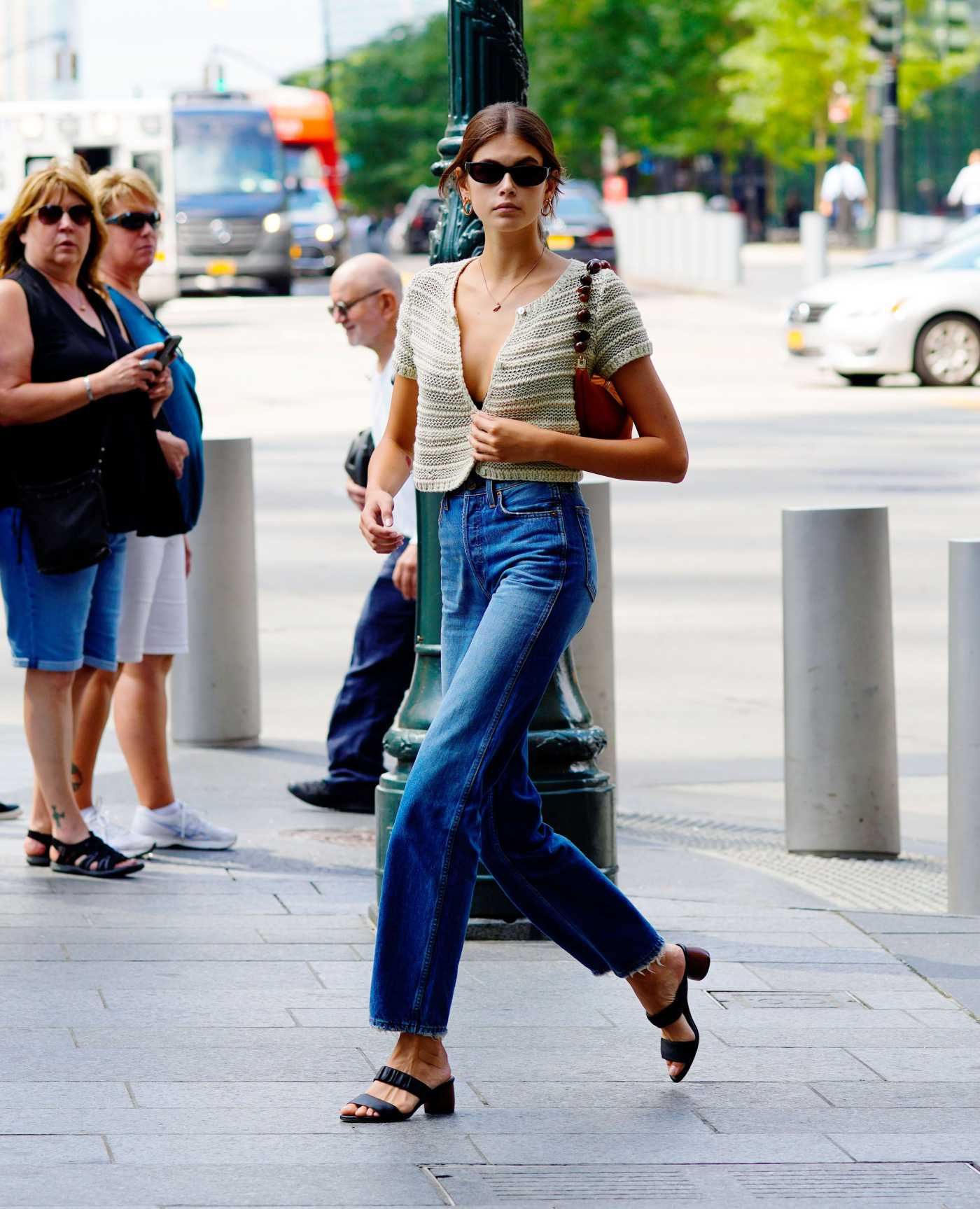 Kaia Gerber in a Blue Jeans Was Seen Out in NY 09/04/2019