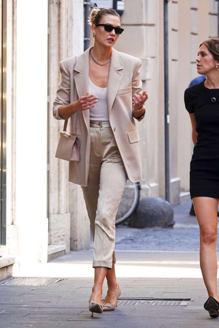 Karlie Kloss in a Beige Suit