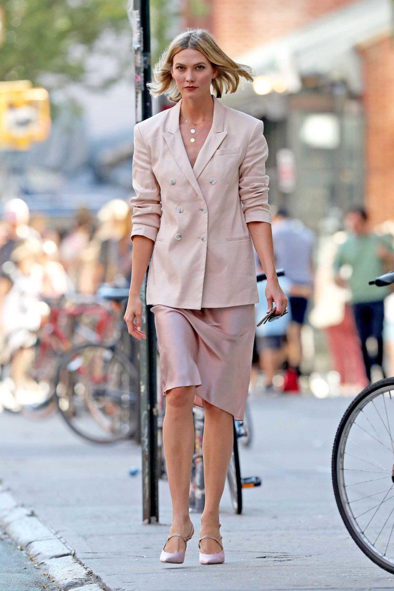 Karlie Kloss in a Pink Blazer