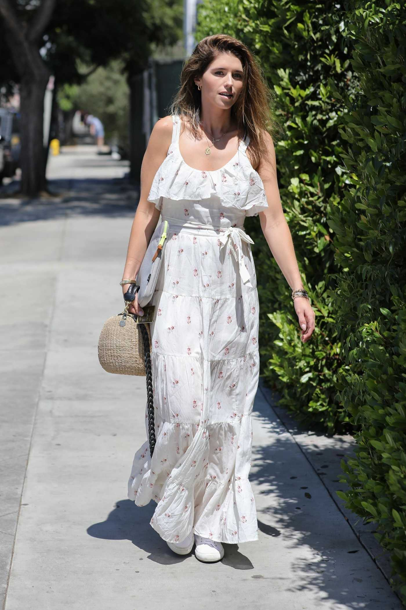 Katherine Schwarzenegger in a White Floral Dress Was Seen Out in Los Angeles 08/29/2019