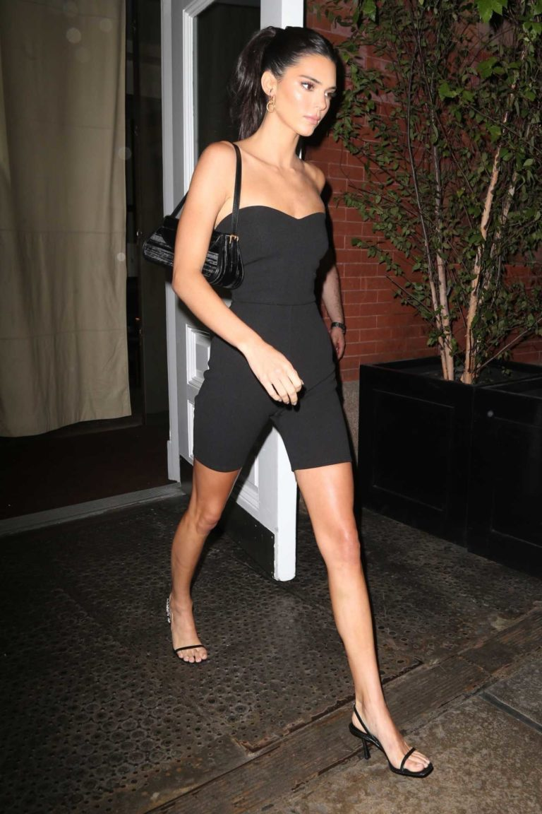 Kendall Jenner in a Black Form Fitting Shorts