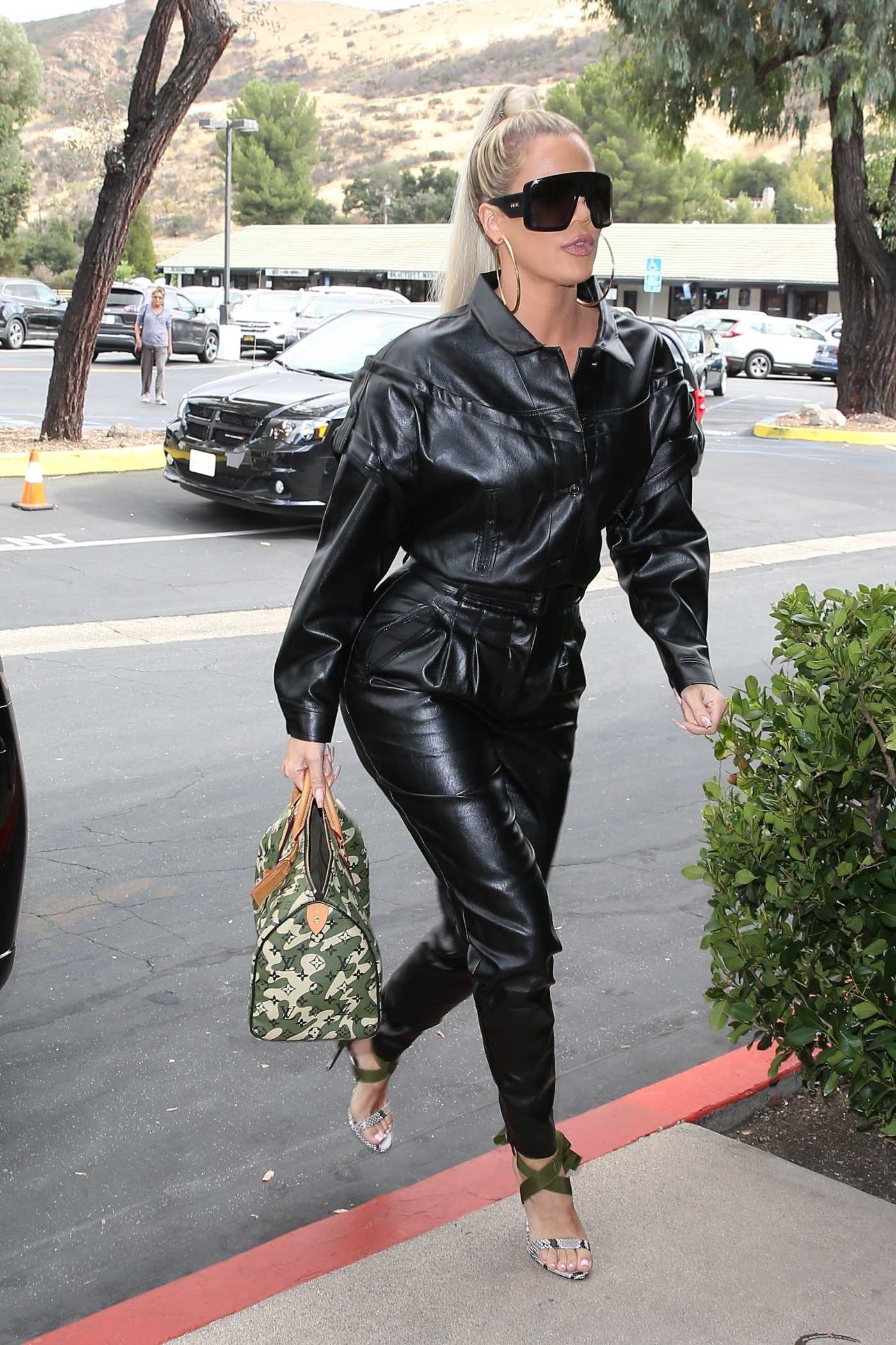 Khloe Kardashian in a Black Leather Jumpsuit Was Seen Out in Agoura Hills 09/10/2019