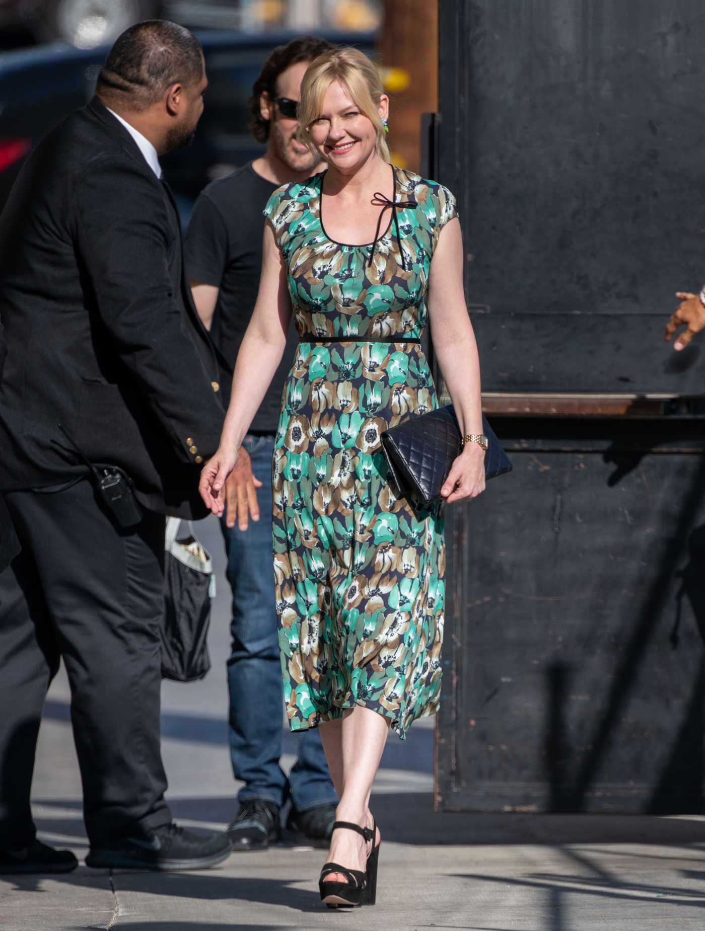 Kirsten Dunst in a Green Floral Dress Visits Jimmy Kimmel Live! in Hollywood 09/05/2019