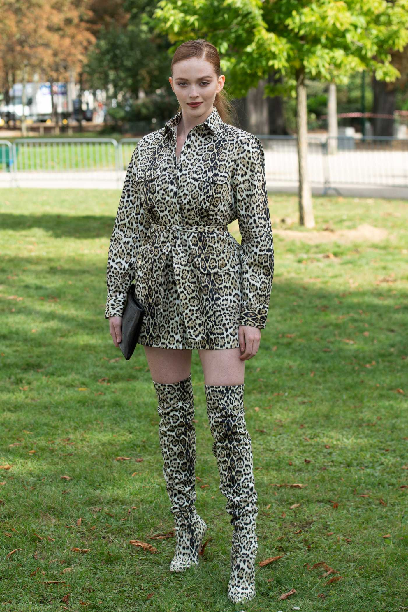 Larsen Thompson Attends the Elie Saab Fashion Show During 2019 Paris Fashion Week in Paris 09/28/2019