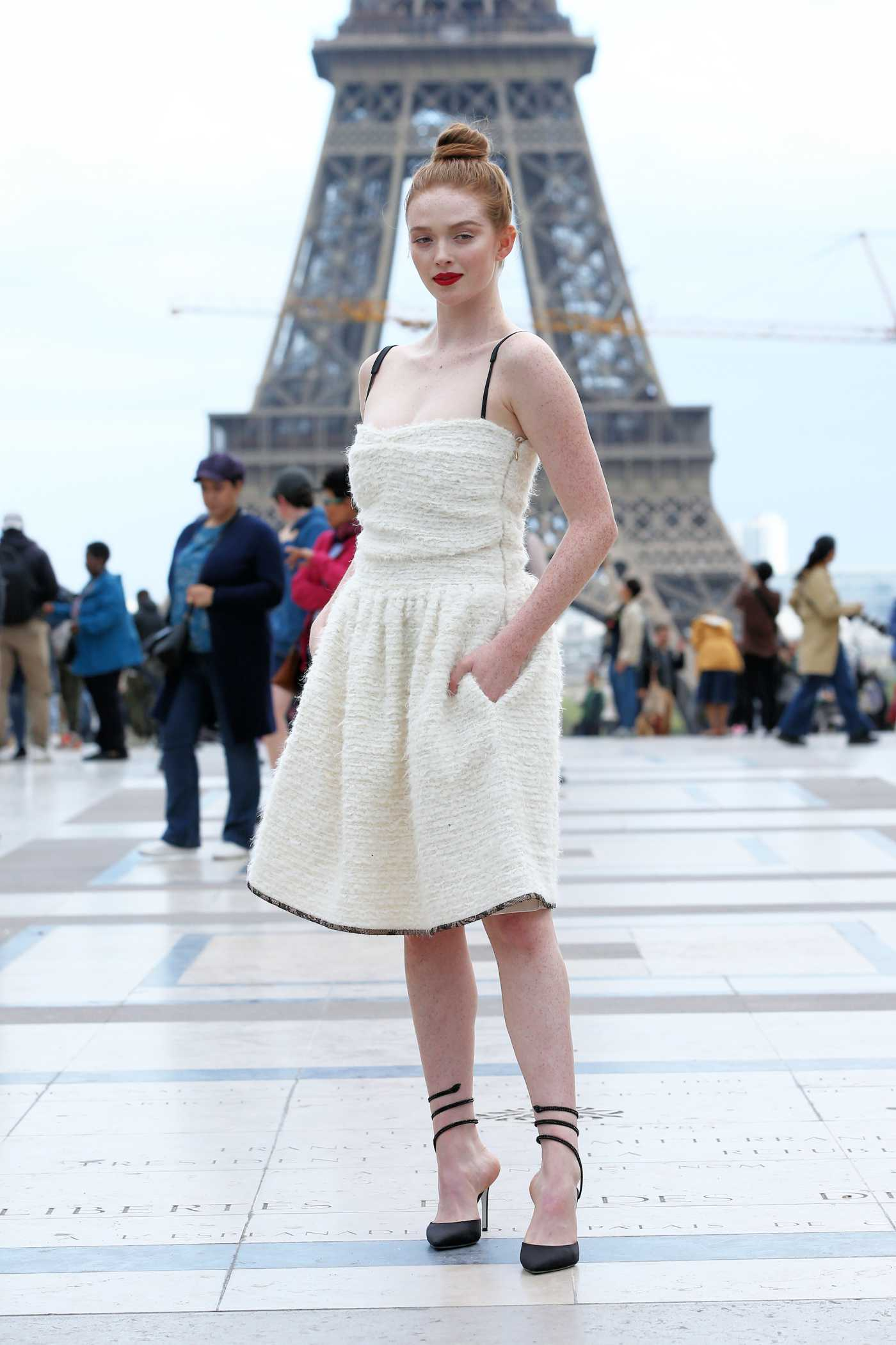 Larsen Thompson in a White Dress Was Seen Out in Paris 09/25/2019