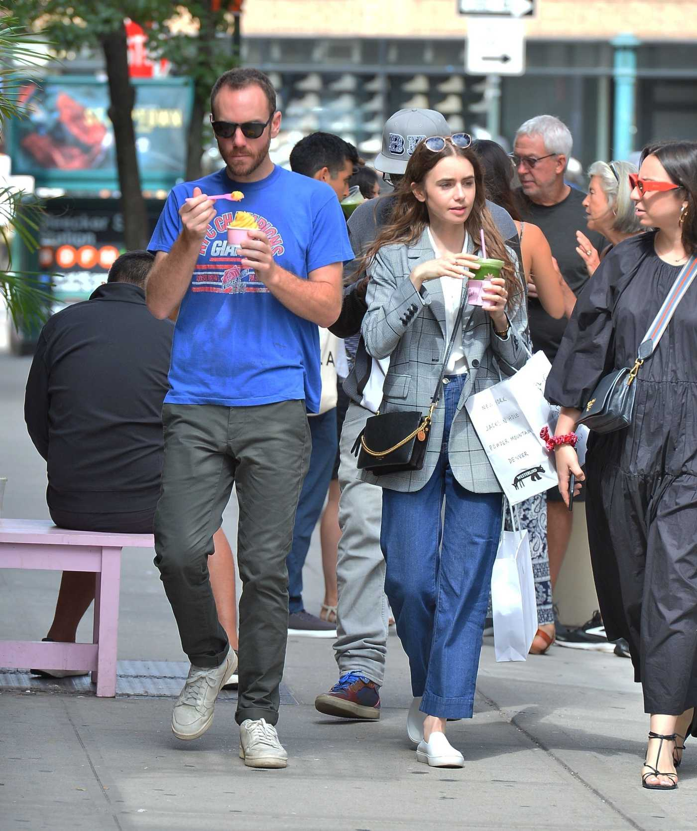 Lily Collins in a Gray Blazer Leaves Out with Charlie McDowell the Cha Cha Matcha in NY 09/07/2019