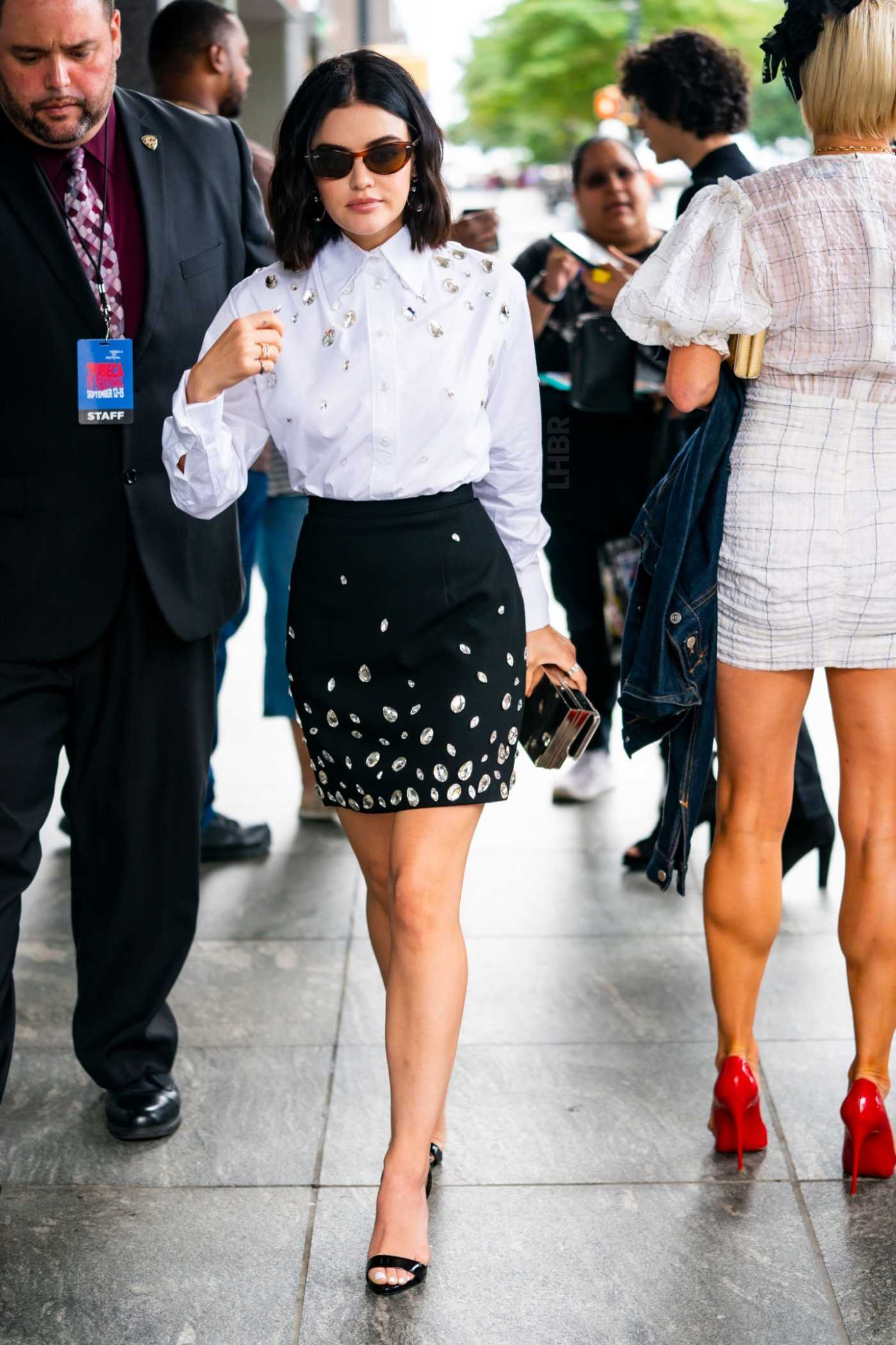 Lucy Hale in a White Blouse Was Seen Out in New York City 09/14/2019