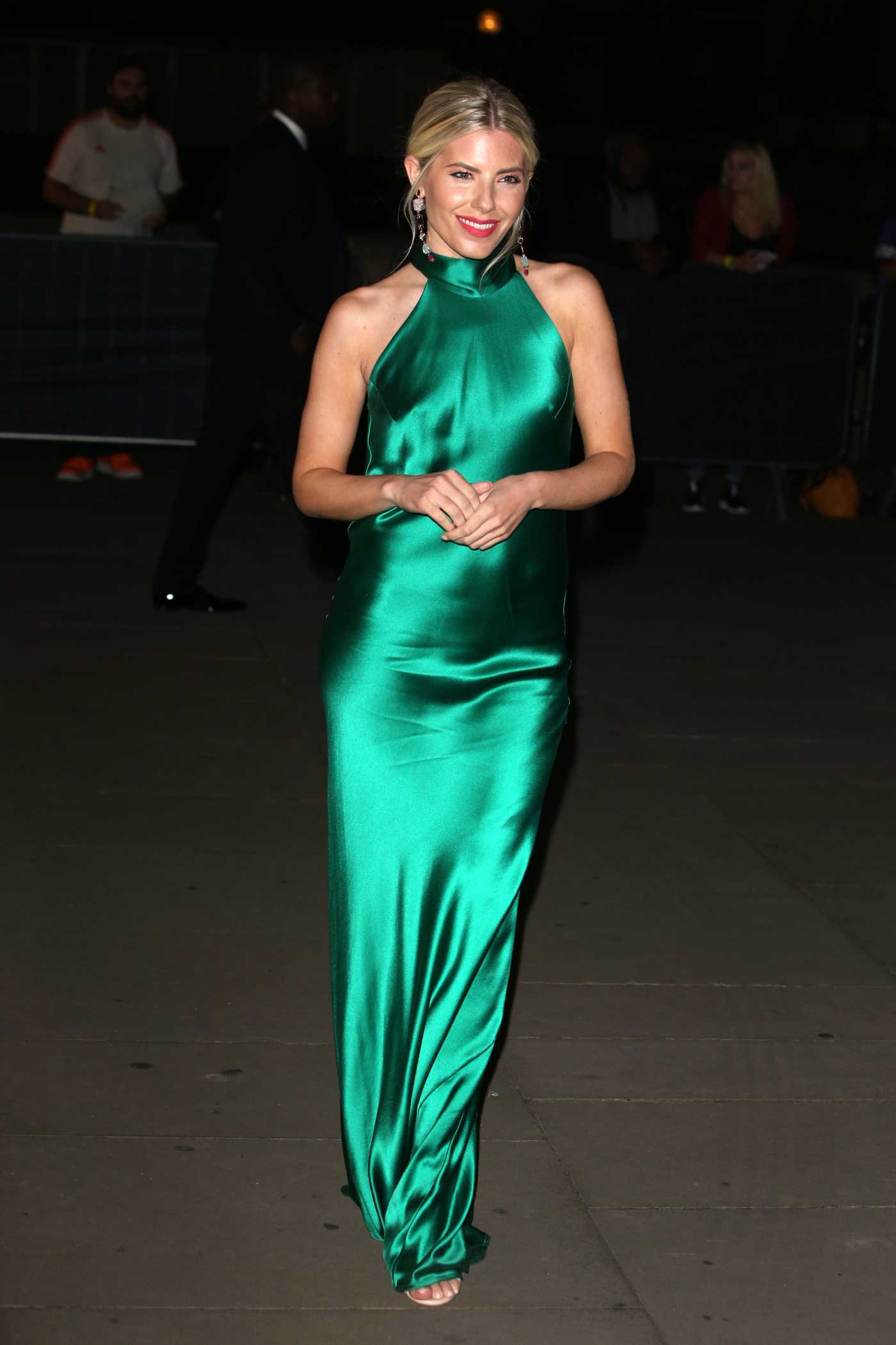 Mollie King in a Green Dress Arrives at the British Museum in London 09/14/2019