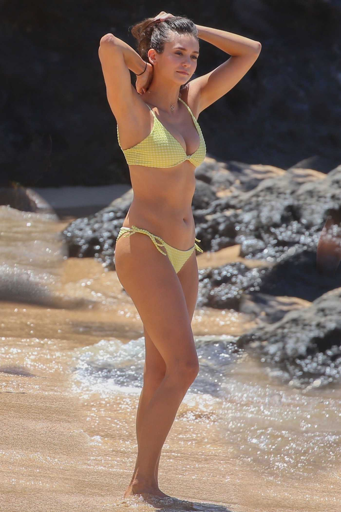 Nina Dobrev in a Yellow Bikini on the Beach in Maui 09/02/2019