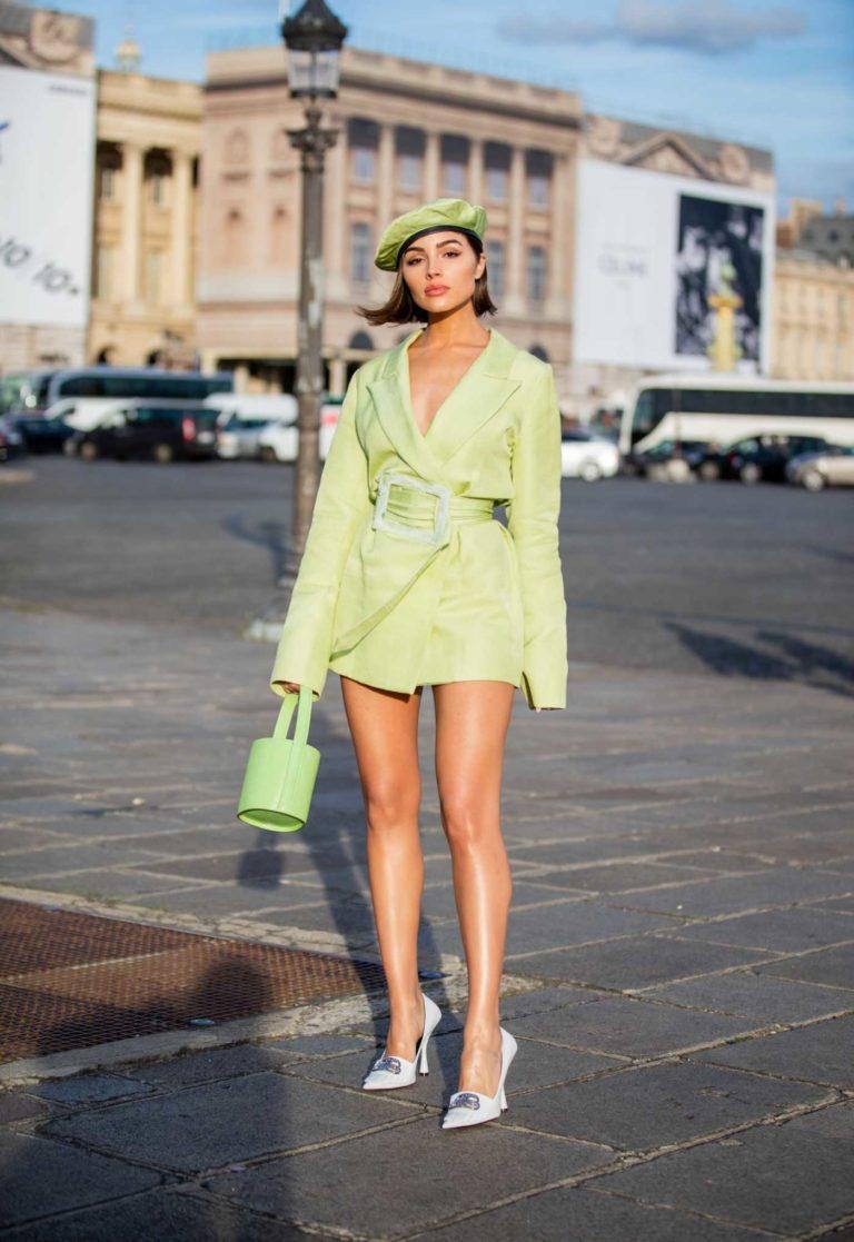 Olivia Culpo in a Neon Green Blazer
