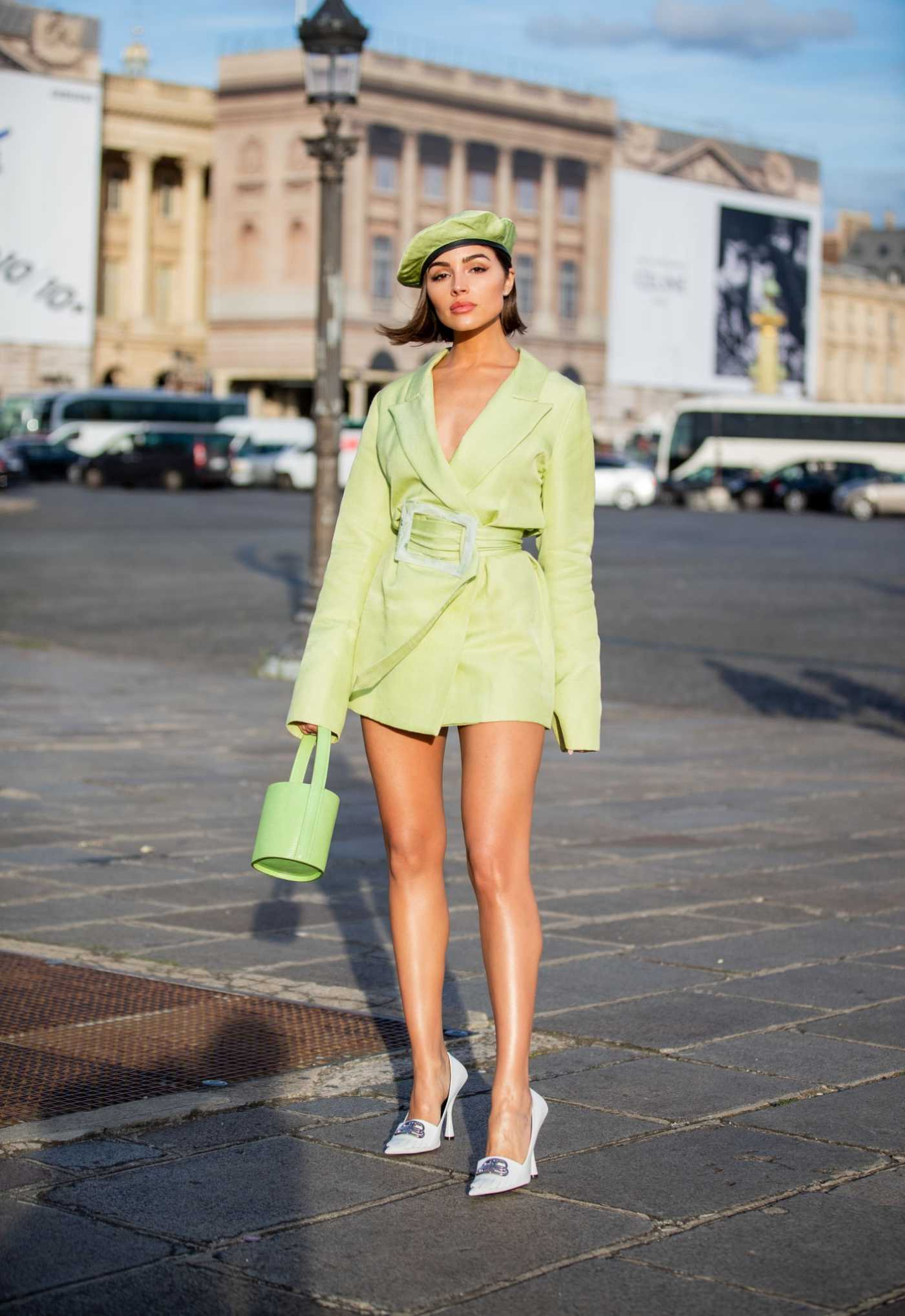 Olivia Culpo in a Neon Green Blazer Was Seen Out in Paris 09/28/2019