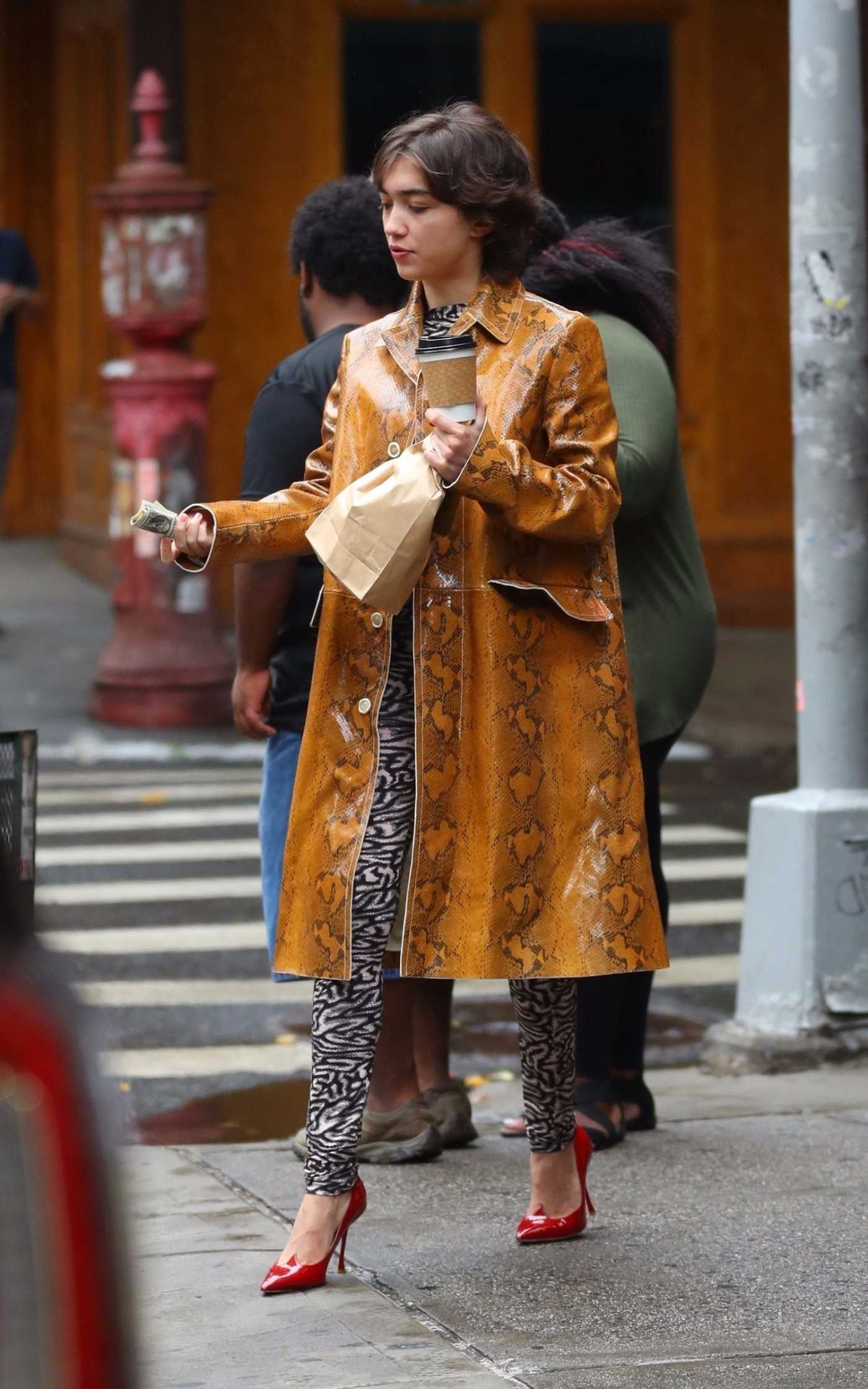 Rowan Blanchard in a Beige Snakeskin Trench Coat Was Seen Out in New York City 09/07/2019