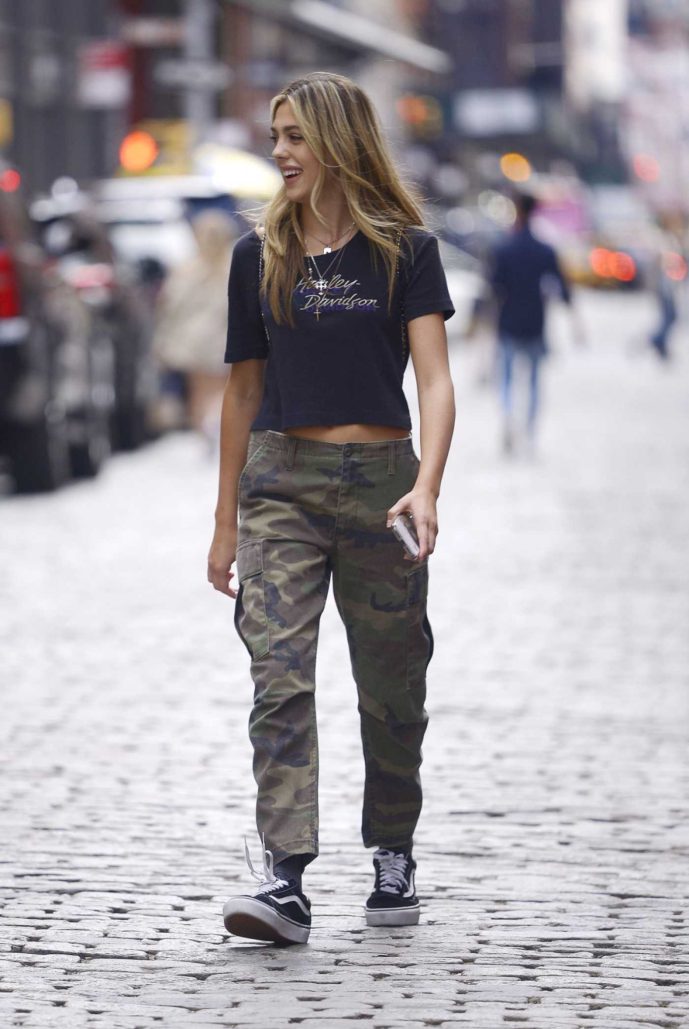 Sistine Stallone in a Camo Pants Was Seen Out in New York 09/08/2019