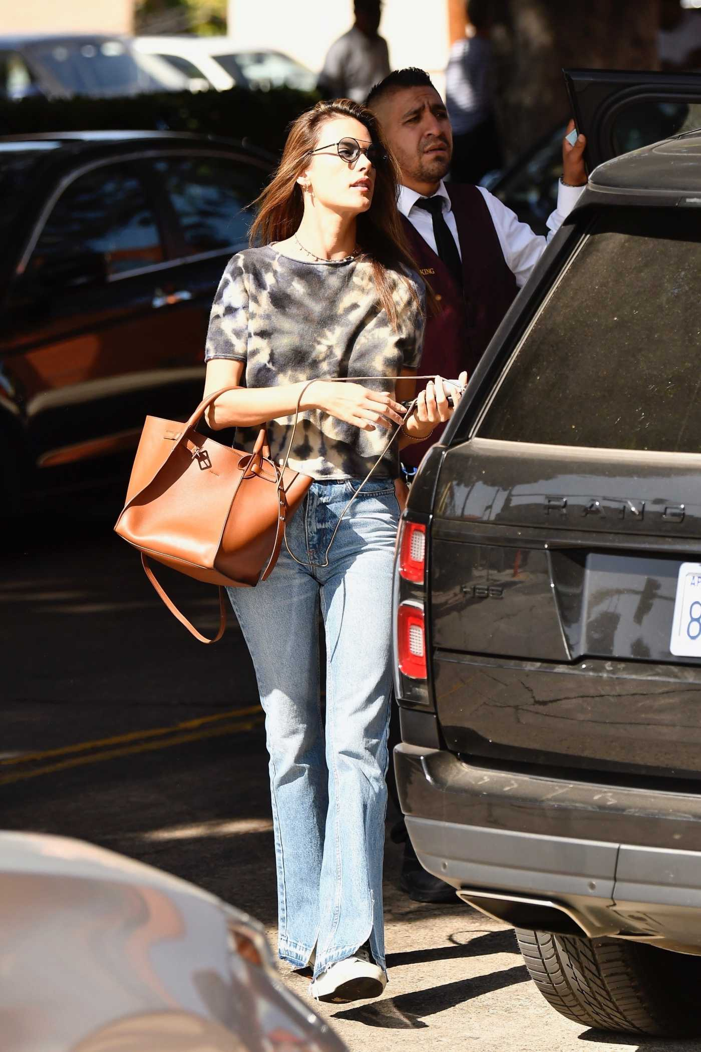 Alessandra Ambrosio in a Blue Jeans Out for Lunch in Brentwood 10/30/2019