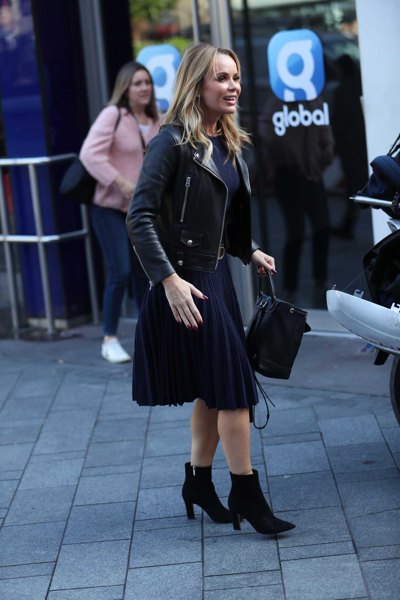 Amanda Holden in a Black Jacket Leaves Global Radio in London 10/18/2019