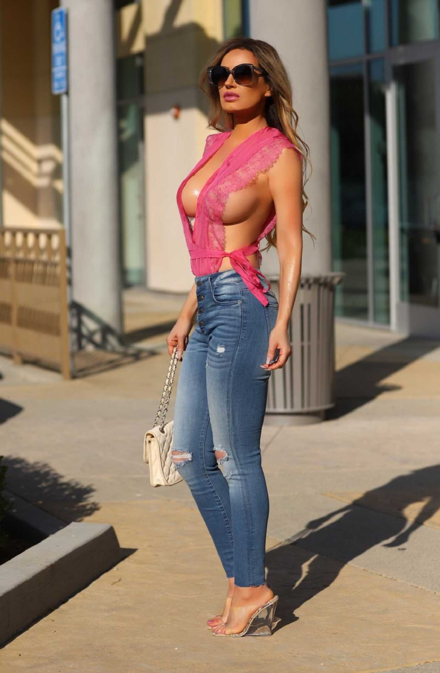 Ana Braga in a Pink Blouse Was Seen Out in Calabasas 09/29/2019