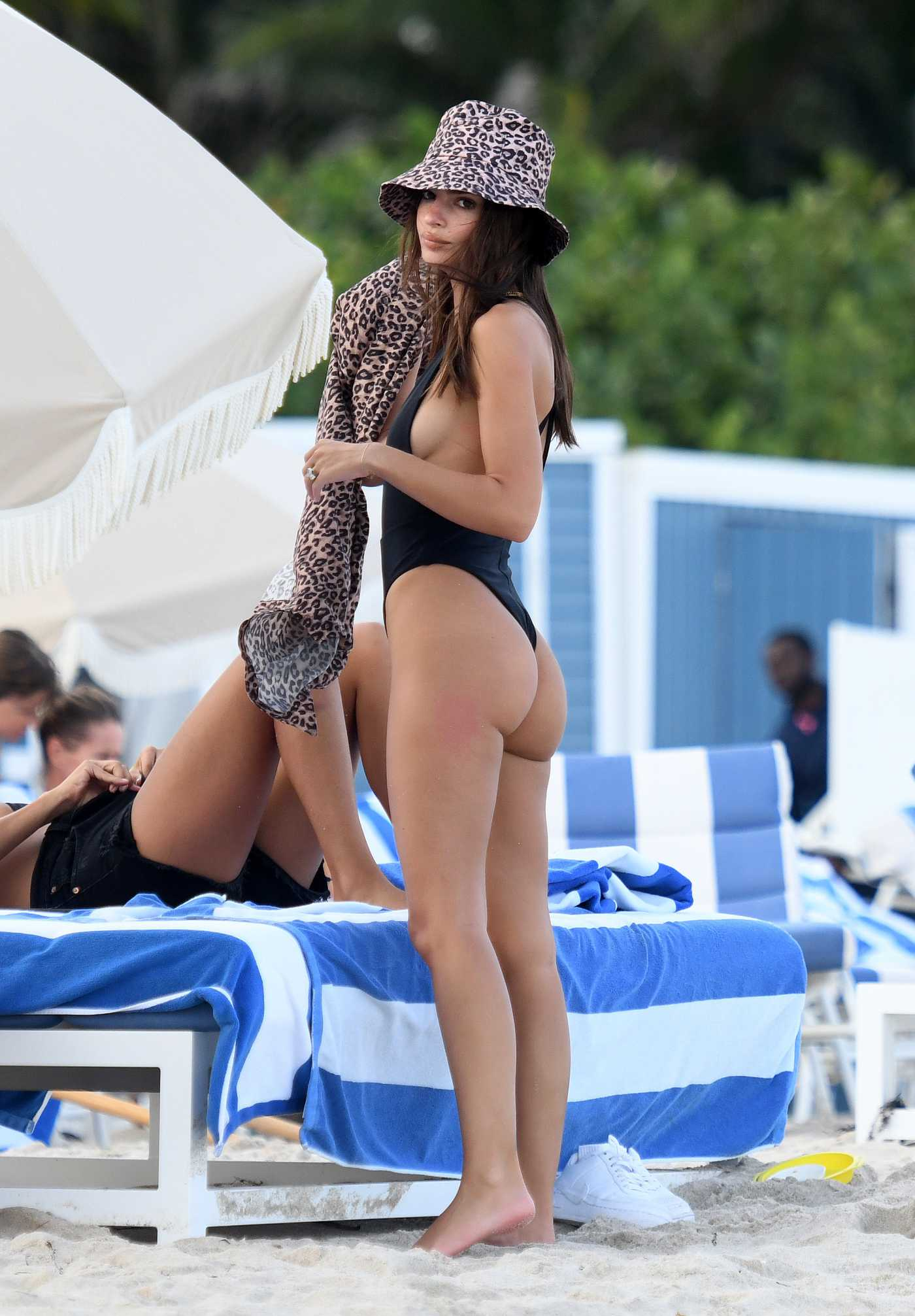 Emily Ratajkowski in a Black Bikini on the Beach in Miami 10/14/2019