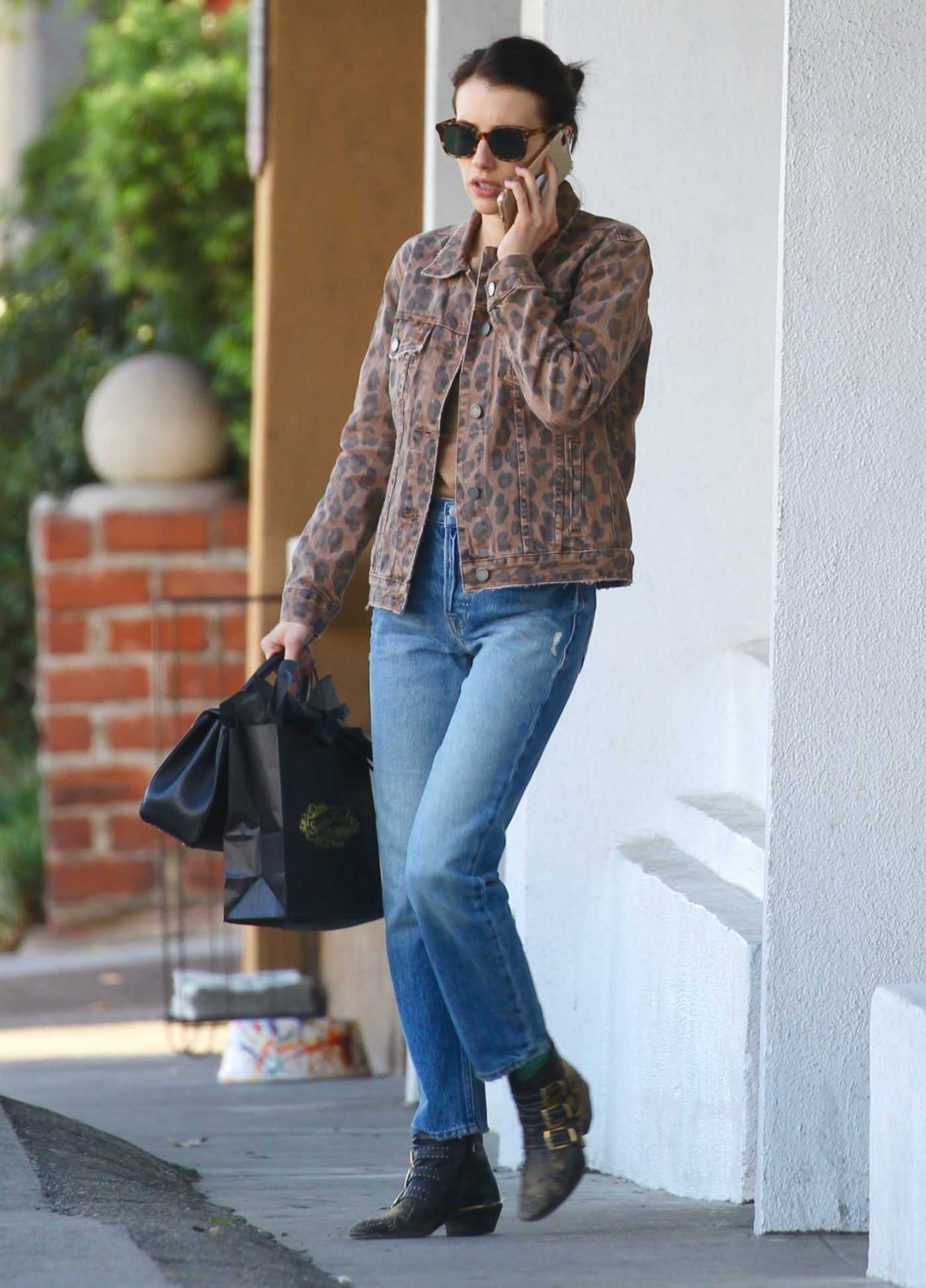 Emma Roberts in a Leopard Print Jacket Was Seen Out in Los Feliz 10/13/2019