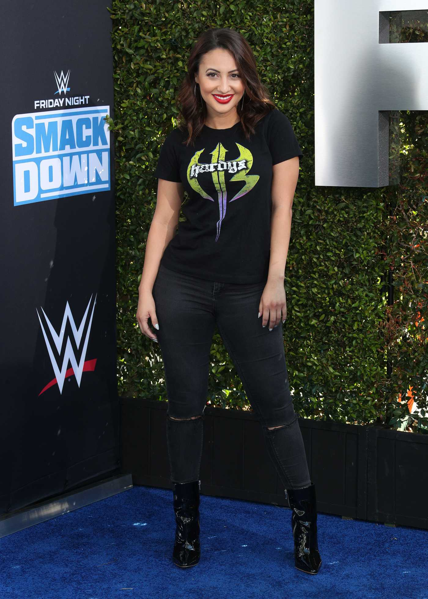 Francia Raisa Attends the WWE 20th Anniversary Celebration Marking Premiere of WWE Friday Night SmackDown in LA 10/04/2019