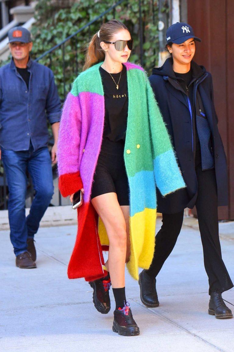 Gigi Hadid in a Multicolor Cardigan