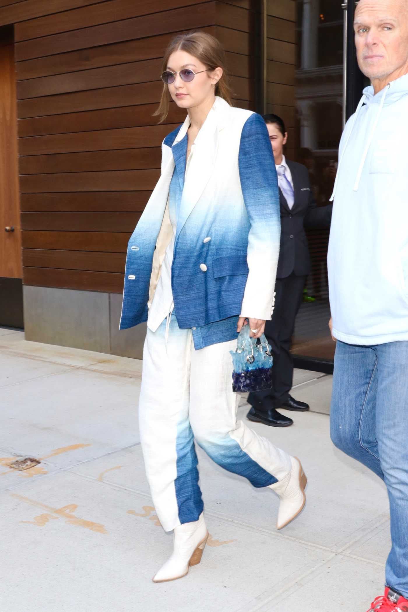 Gigi Hadid in a Two Tone Pantsuit Was Seen Out in New York 10/19/2019