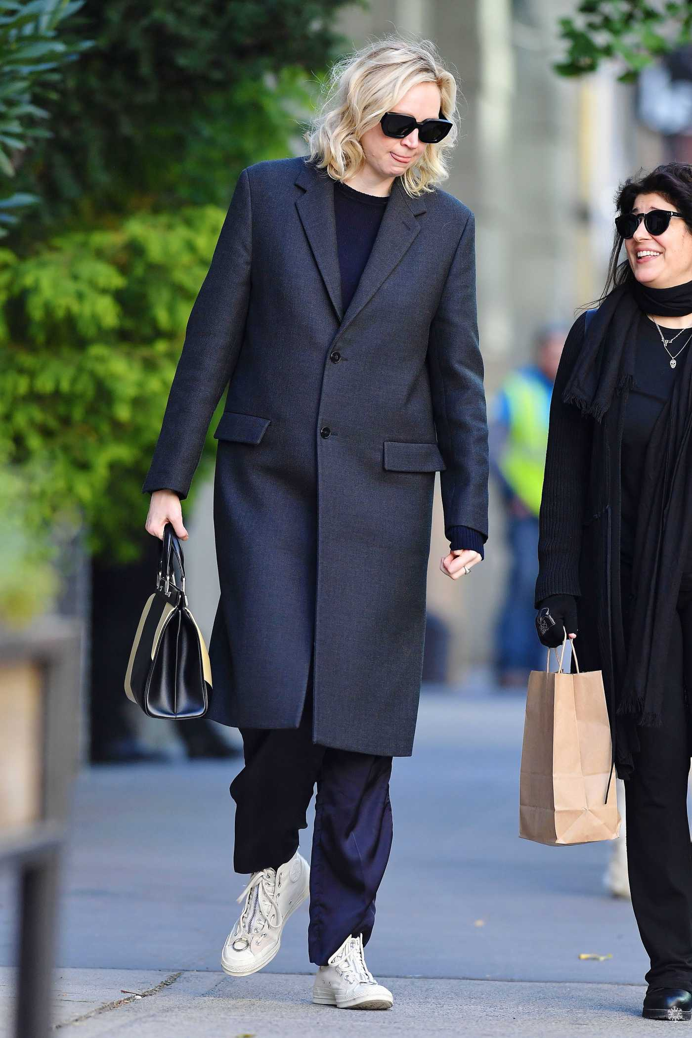 Gwendoline Christie in a Black Coat Out in New York City 10/18/2019