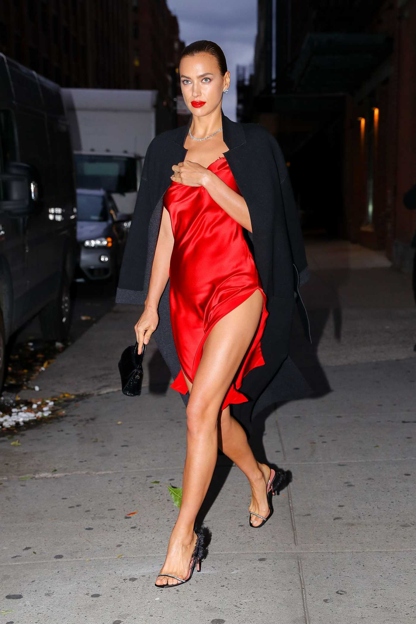 Irina Shayk in a Red Dress Was Seen Out in New York City 10/17/2019