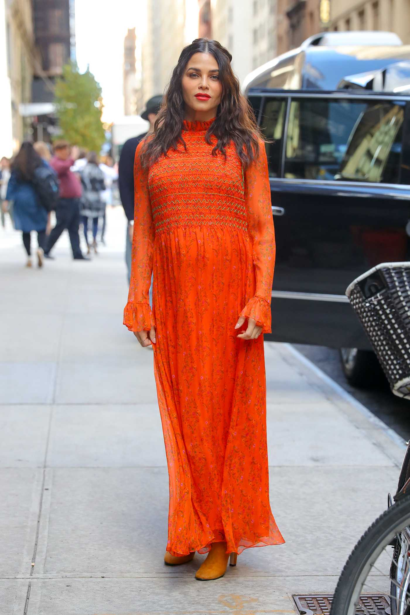 Jenna Dewan in an Orange Dress Was Seen Out in New York City 10/23/2019