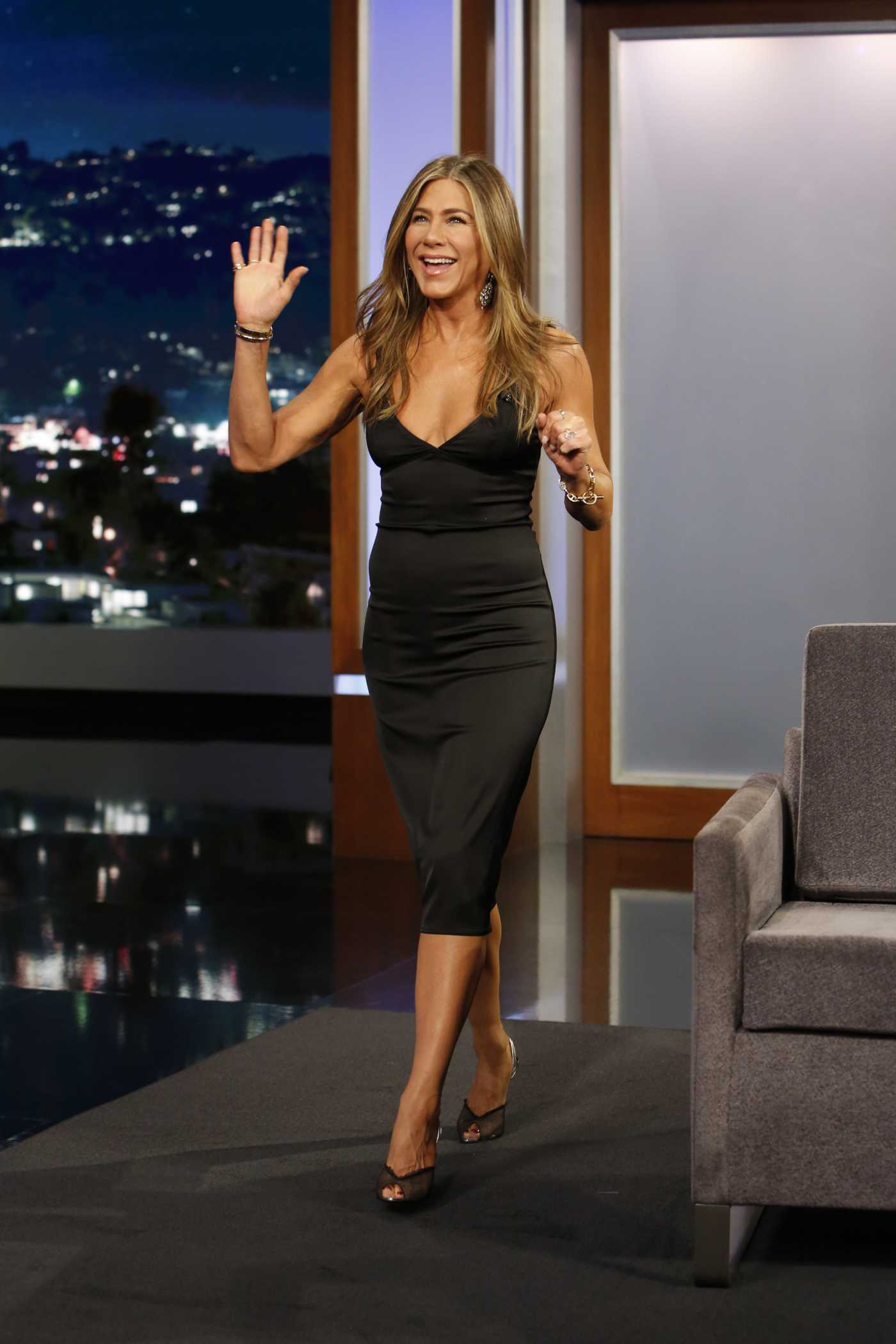 Jennifer Aniston Attends Jimmy Kimmel Live in Los Angeles 10/16/2019