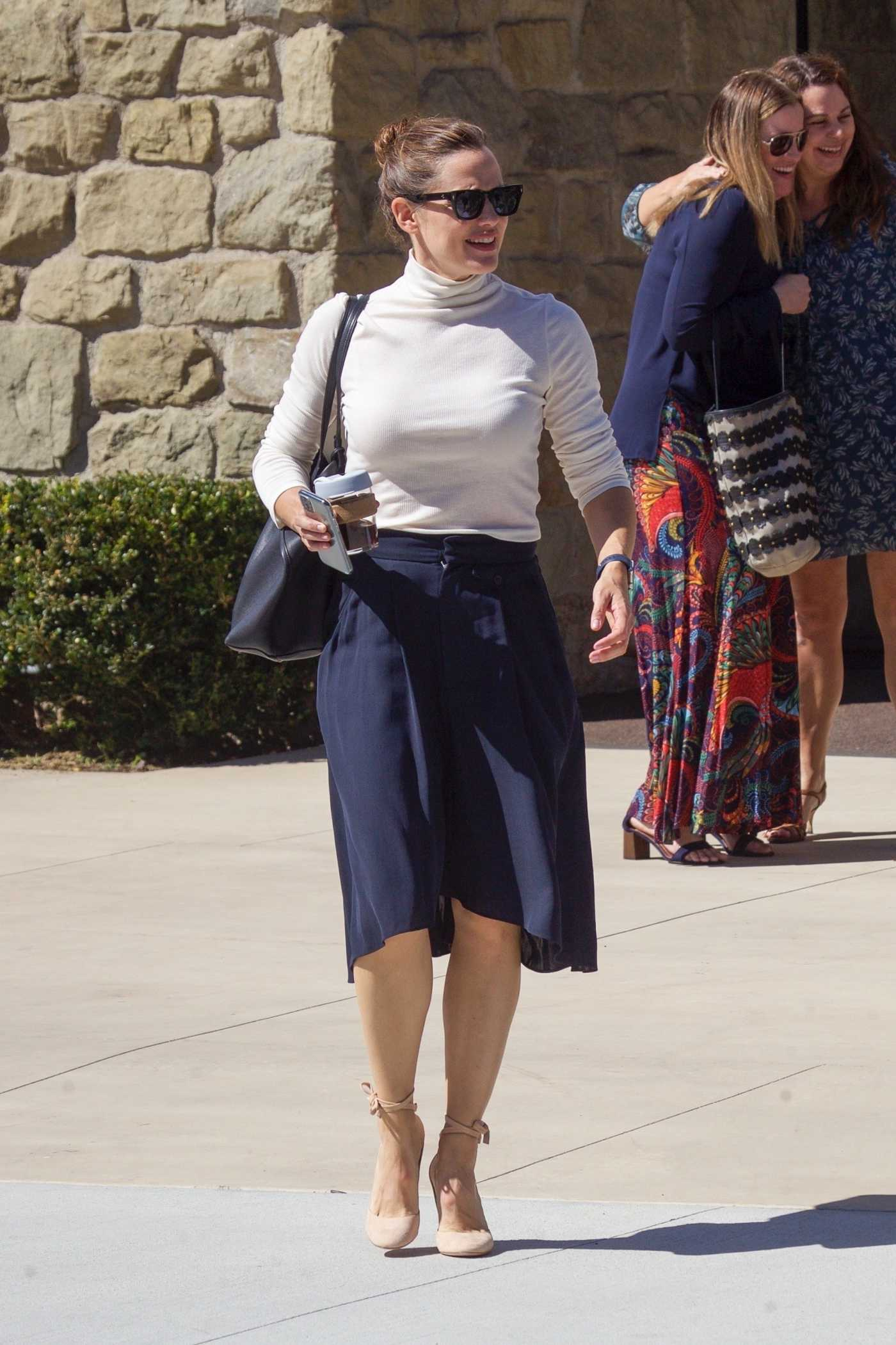 Jennifer Garner in a White Turtleneck Leaves Church in Pacific Palisades 10/06/2019