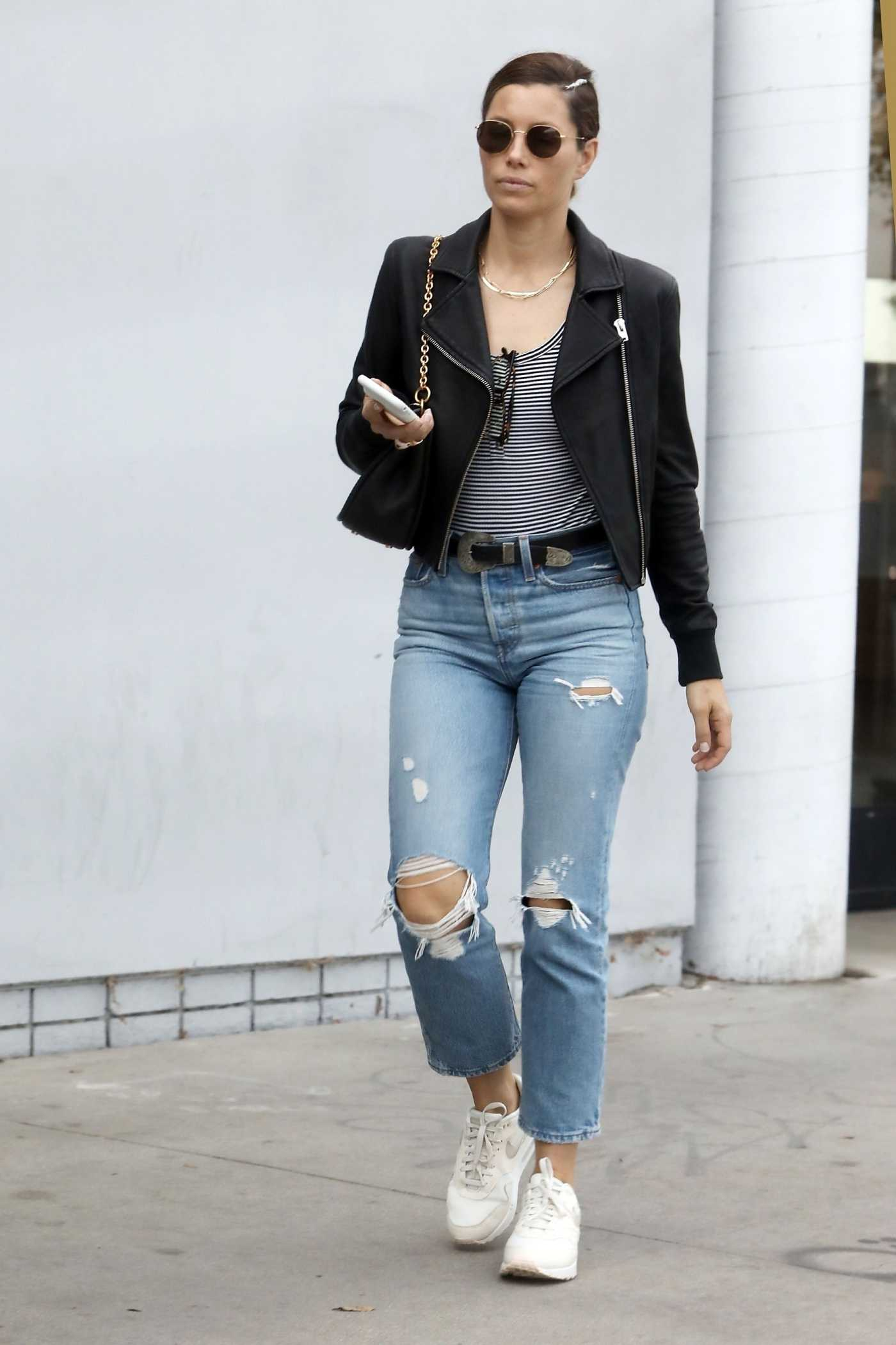 Jessica Biel in a Blue Ripped Jeans Was Seen Out in Los Angeles 10/16/2019