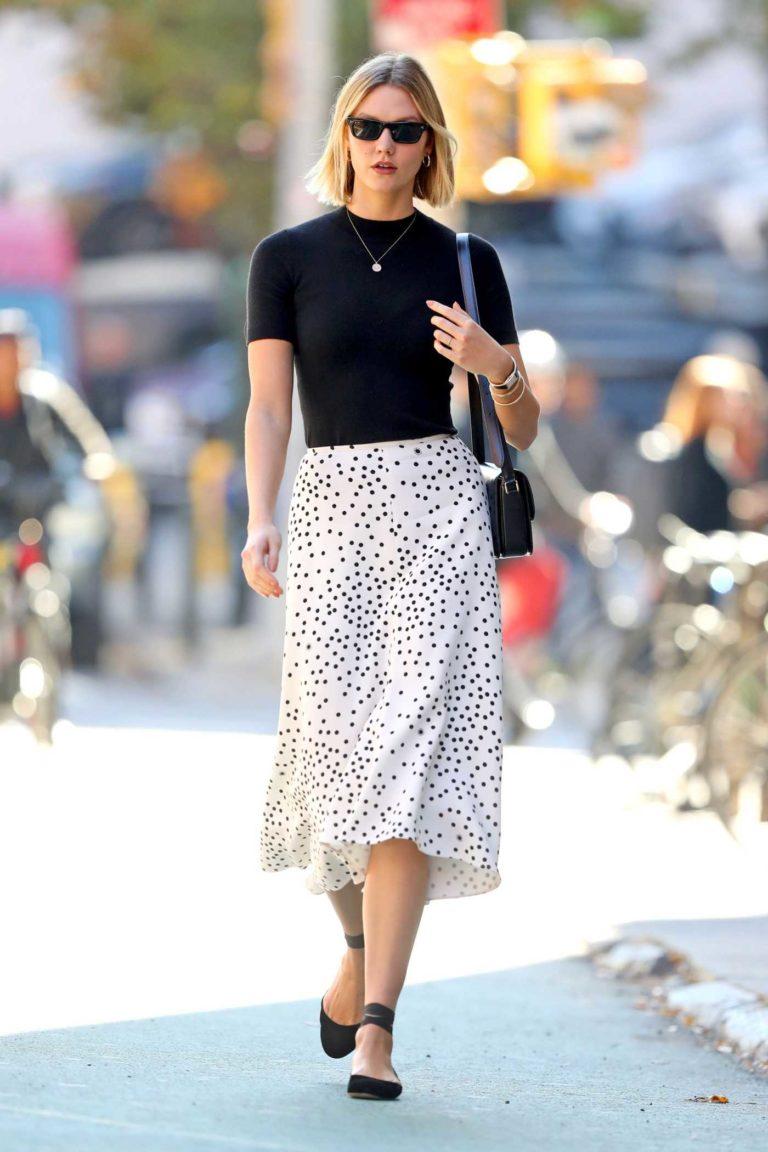 Karlie Kloss in a White Polka Dot Skirt