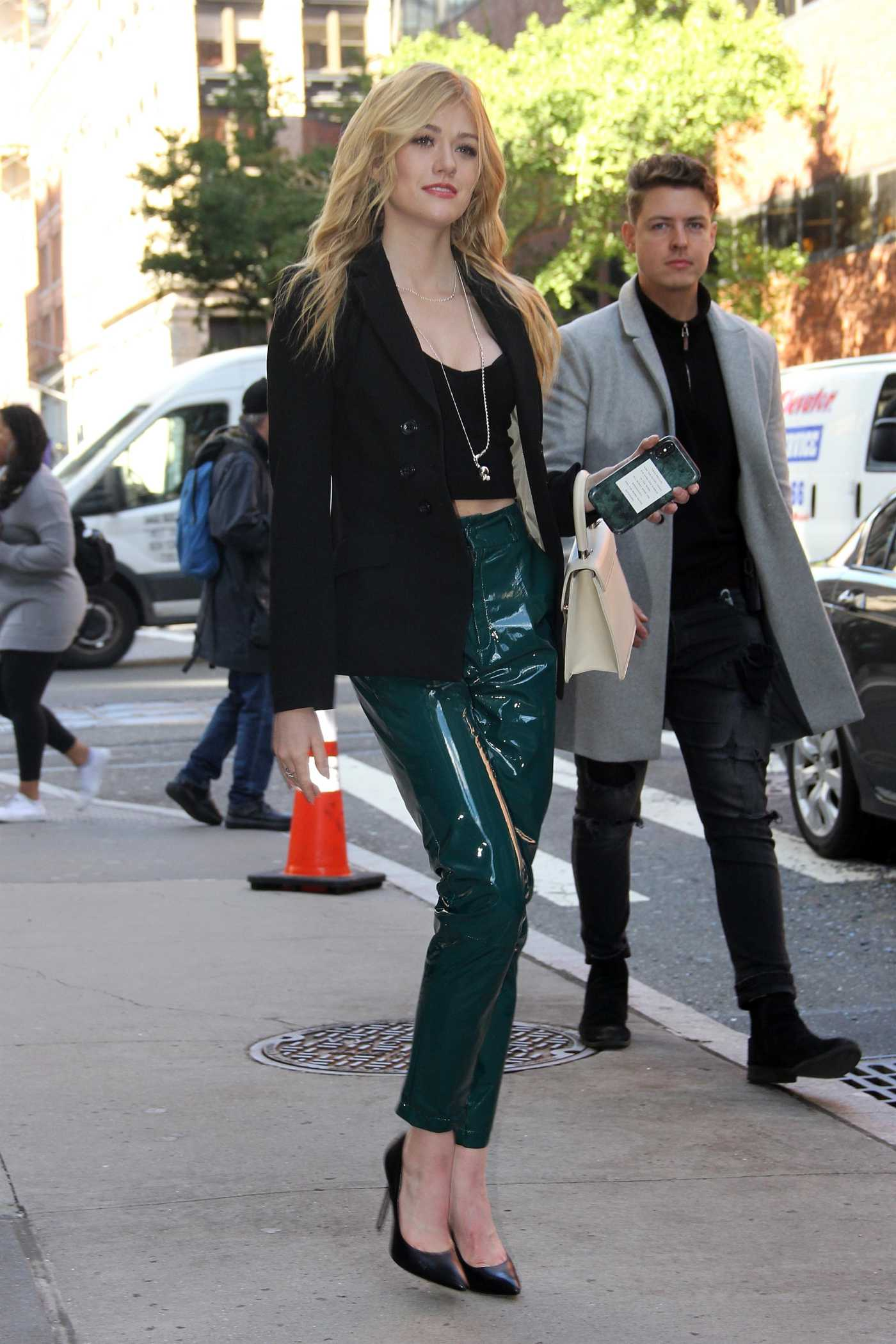Katherine McNamara in a Black Blazer Was Seen Out in NY 10/18/2019