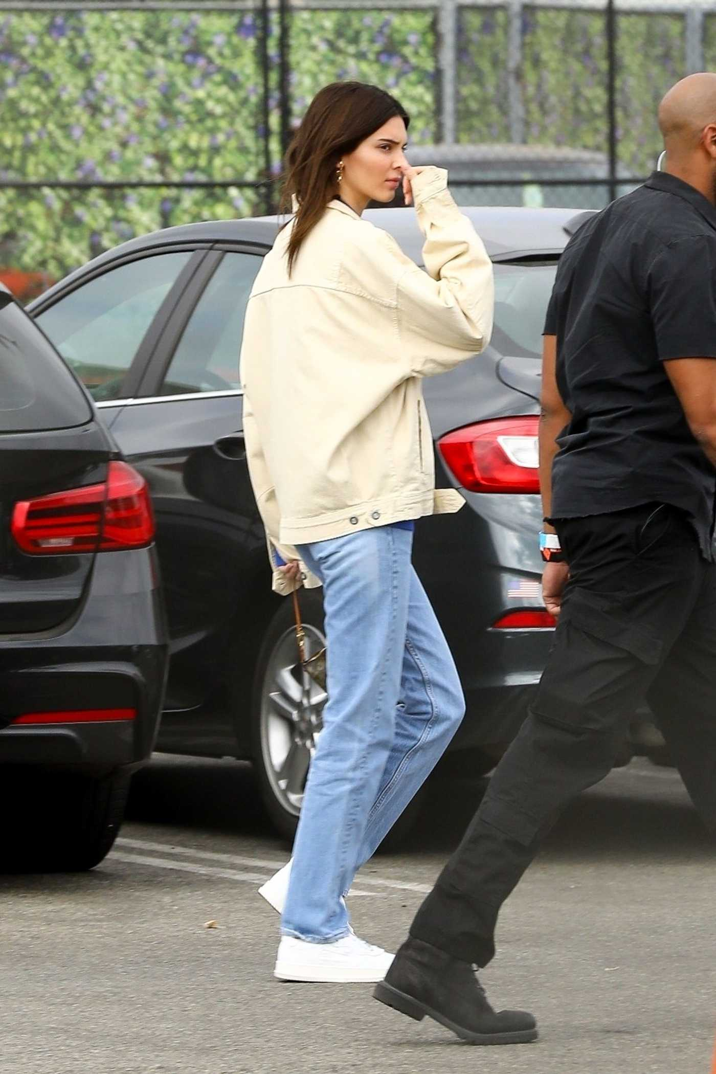 Kendall Jenner in a Beige Jacket Leaves Kanye West's Sunday Service in Inglewood 10/27/2019