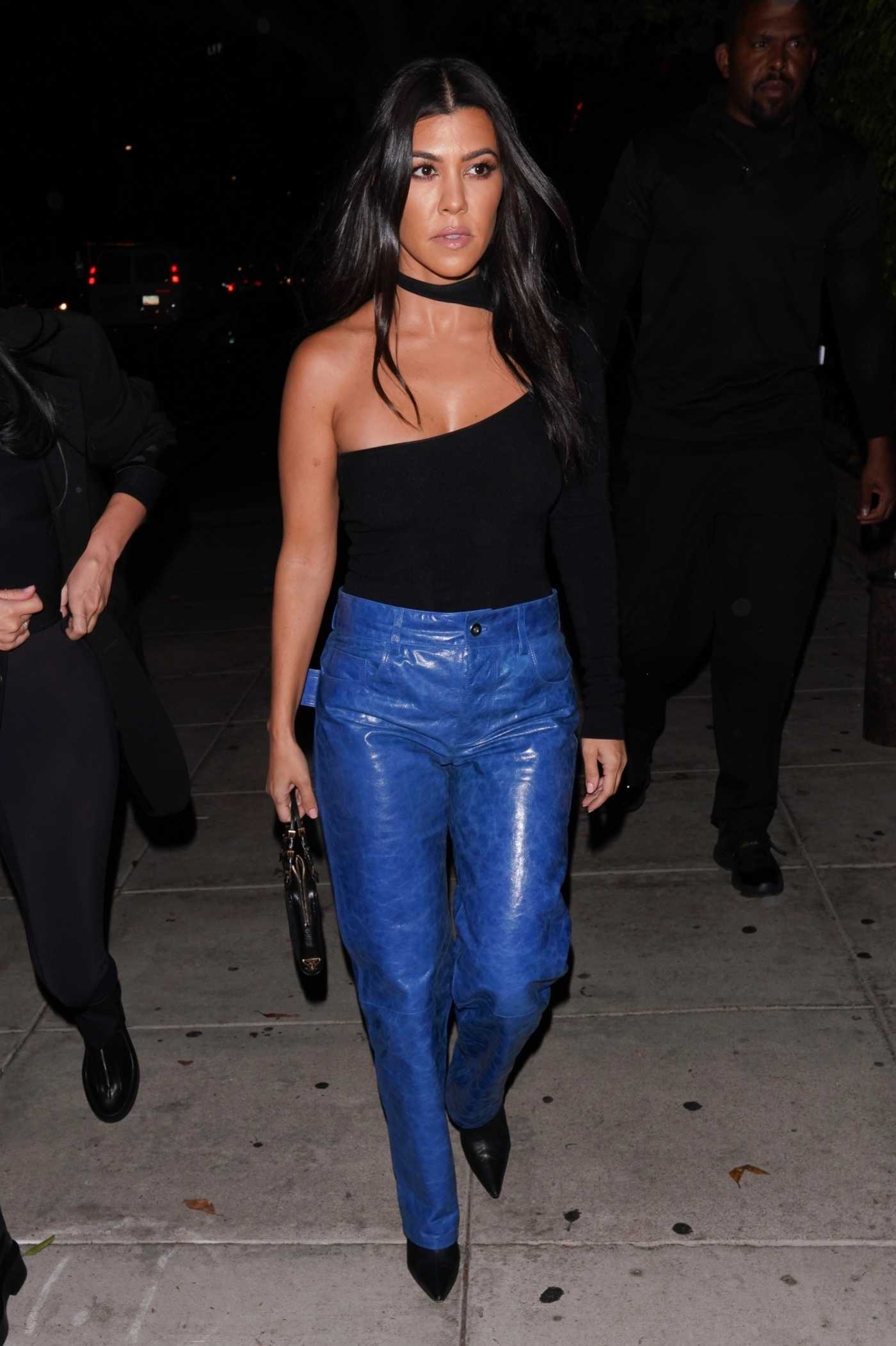 Kourtney Kardashian in a Blue Pants Leaves Nobu Restaurant in West Hollywood 10/18/2019